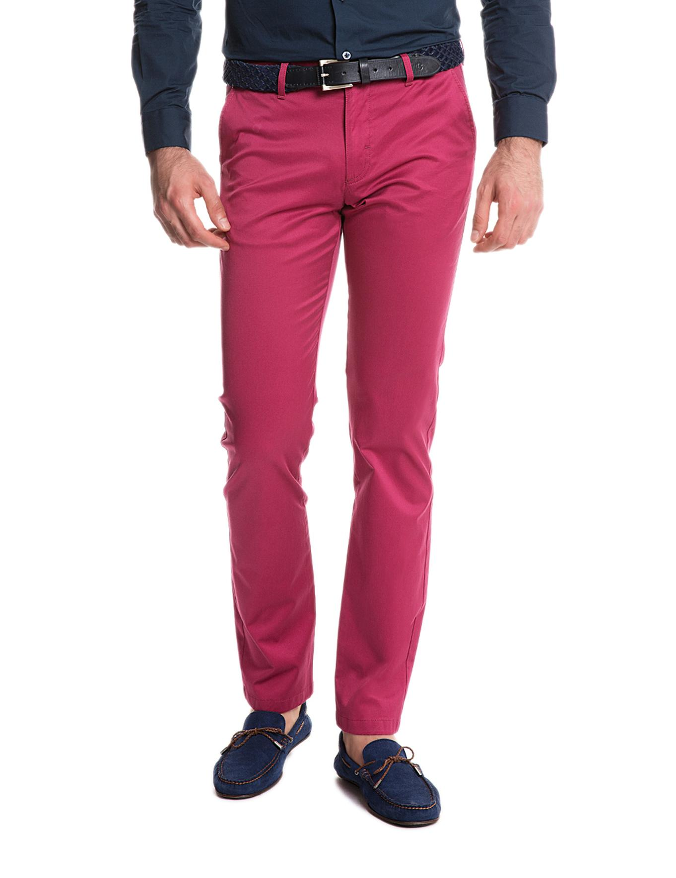 Fuşya Slim Fit Chino Pantolon