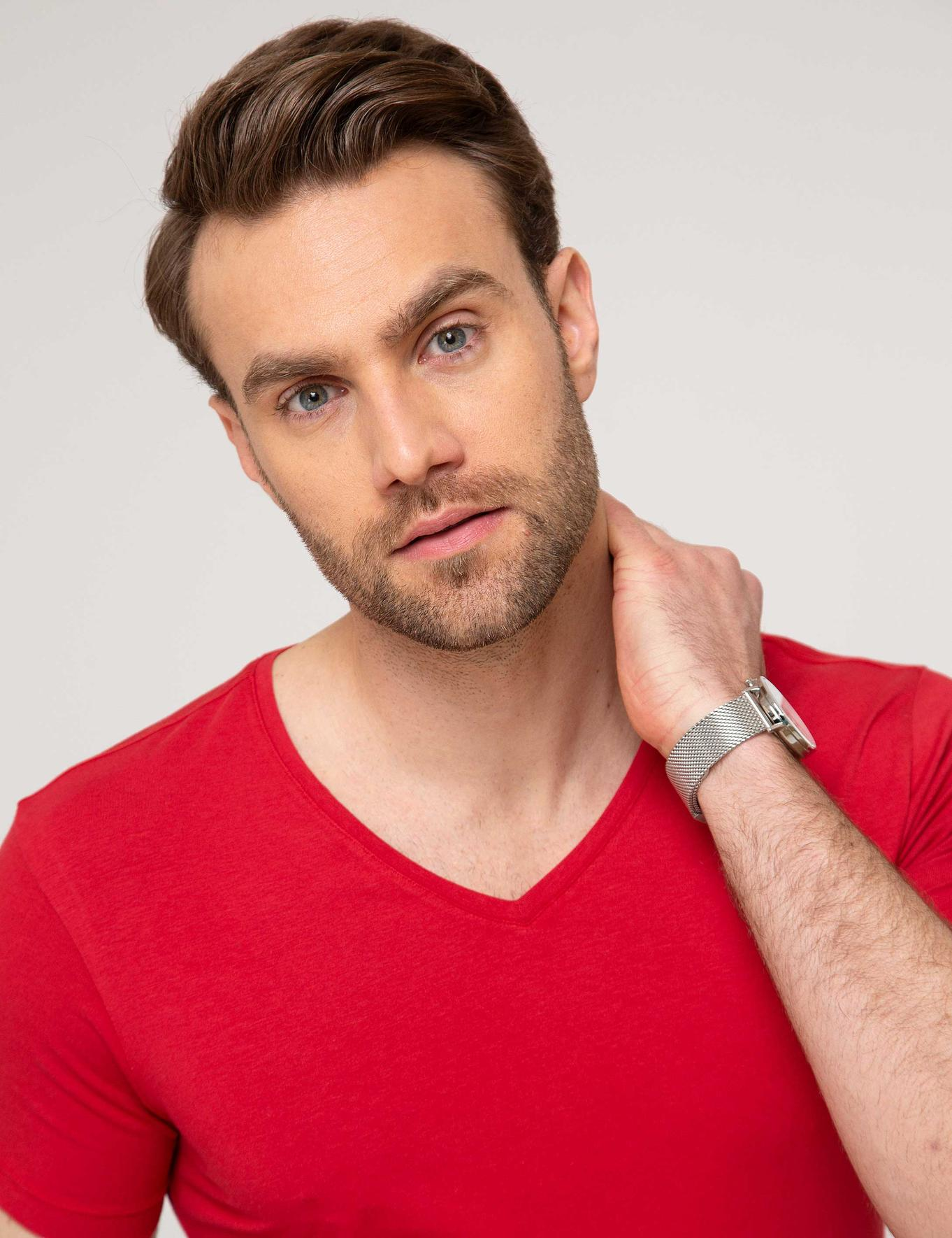 Kırmızı Slim Fit V Yaka T-Shirt