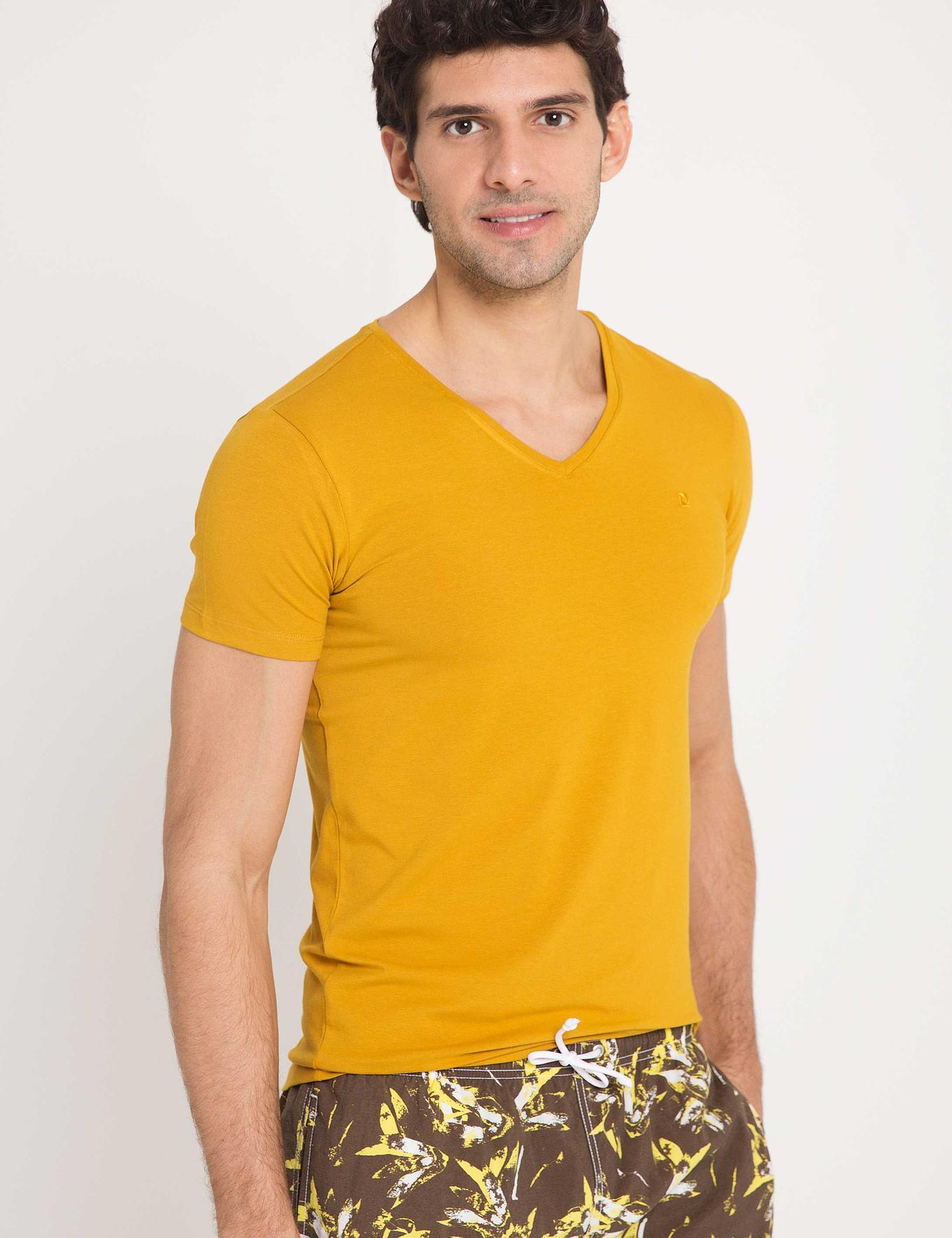 Safran Slim Fit V Yaka T-Shirt