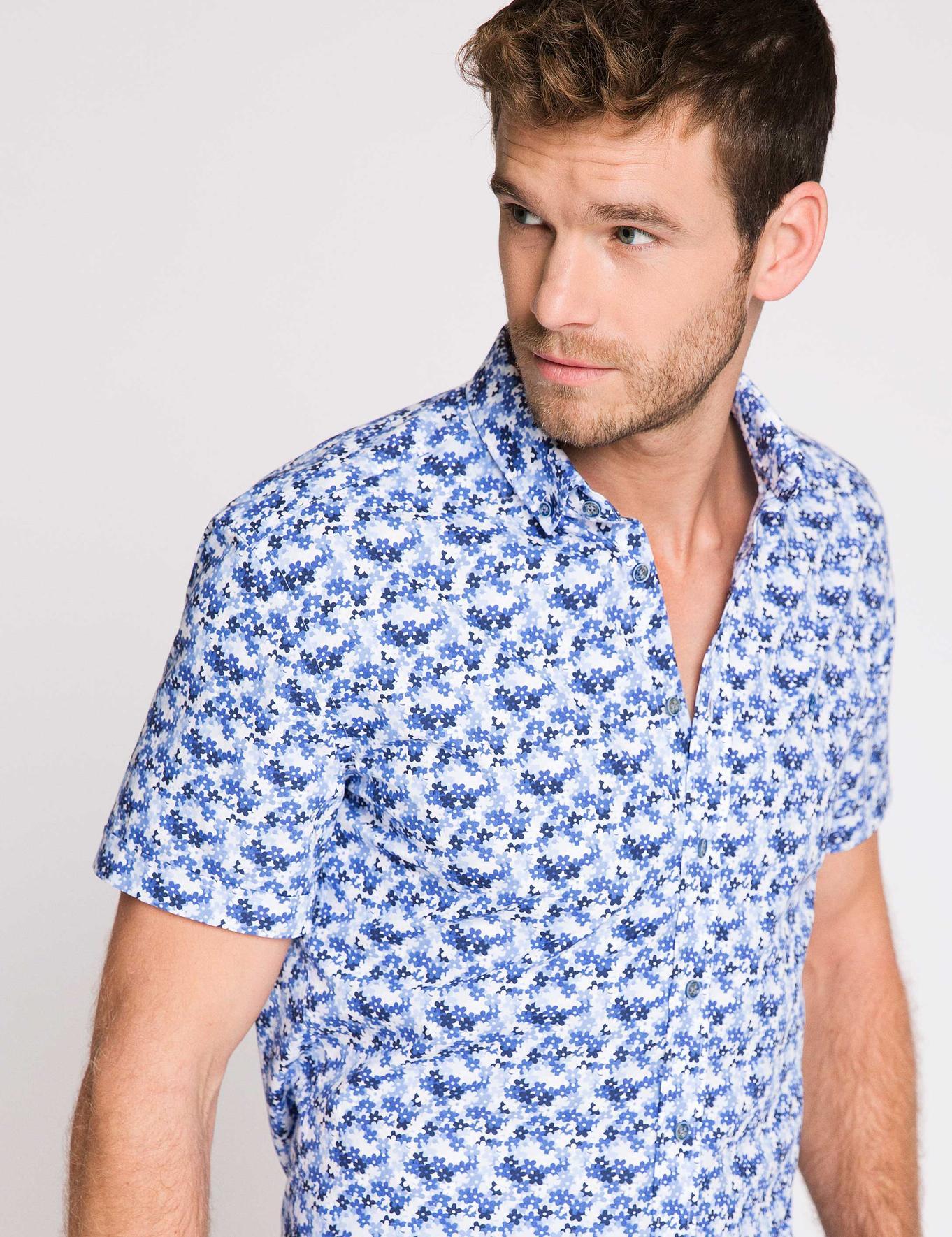 Mavi Slim Fit Kısa Kollu Gömlek