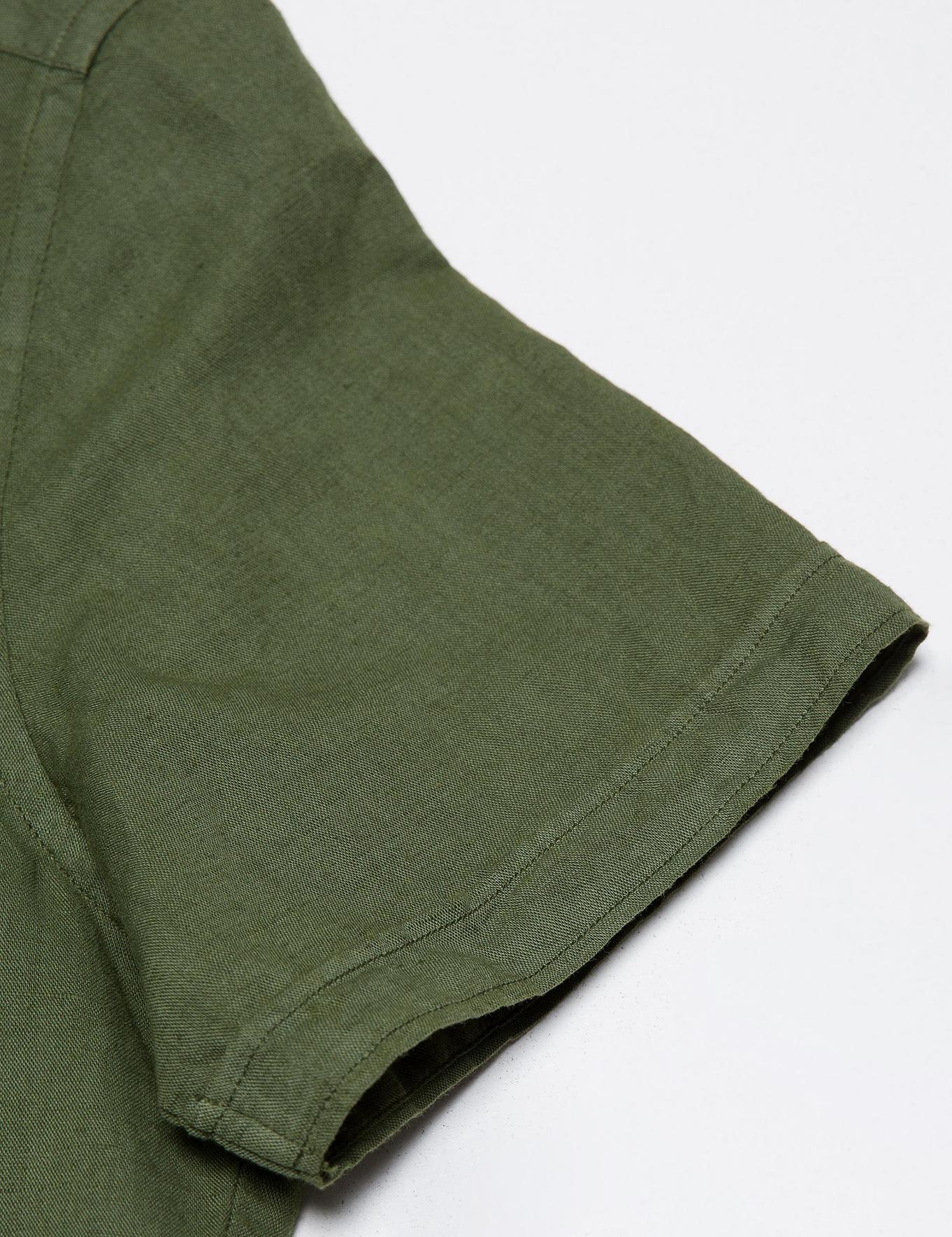 Yeşil Slim Fit Kısa Kollu Gömlek