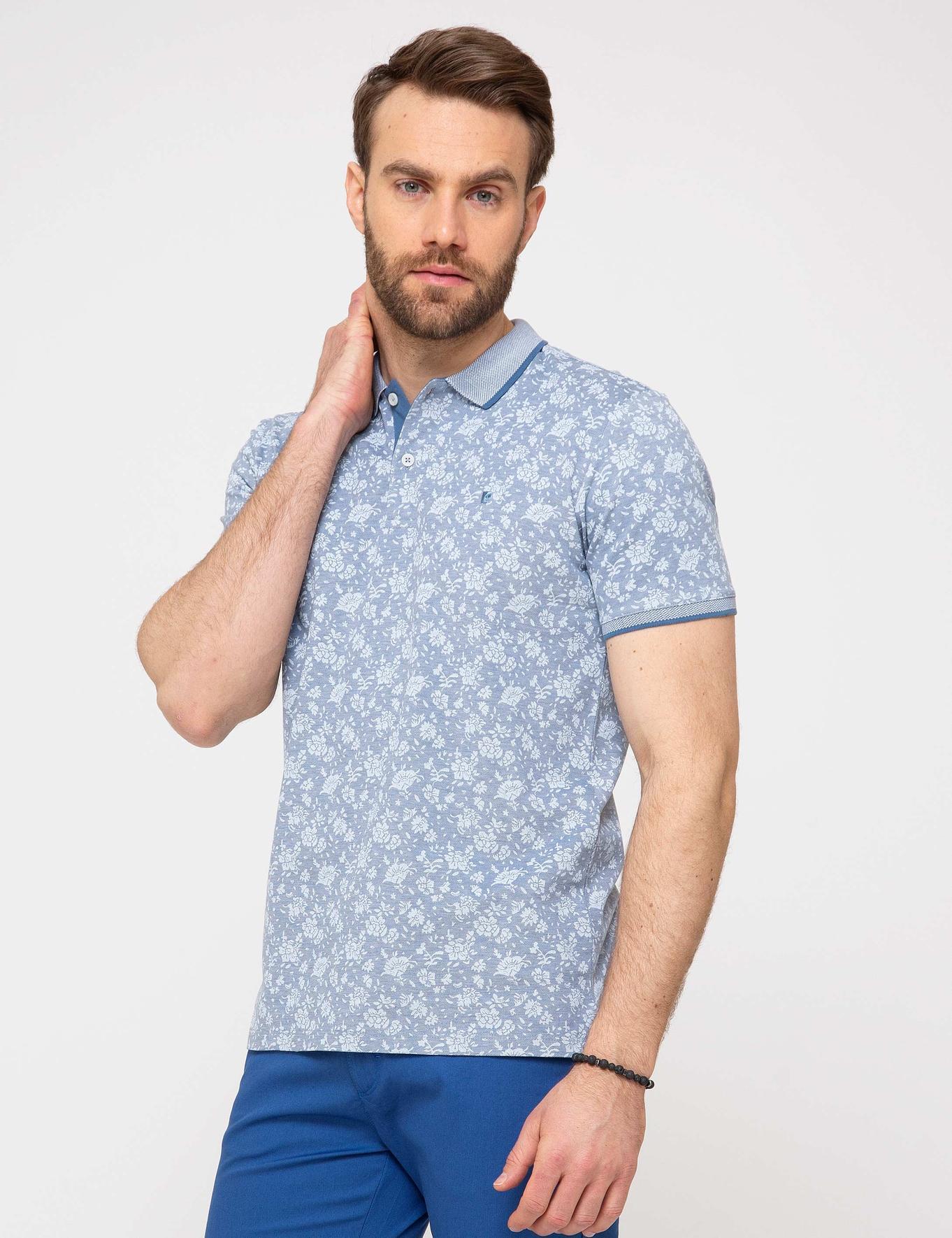 İndigo Mavi Slim Fit Polo Yaka T-Shirt