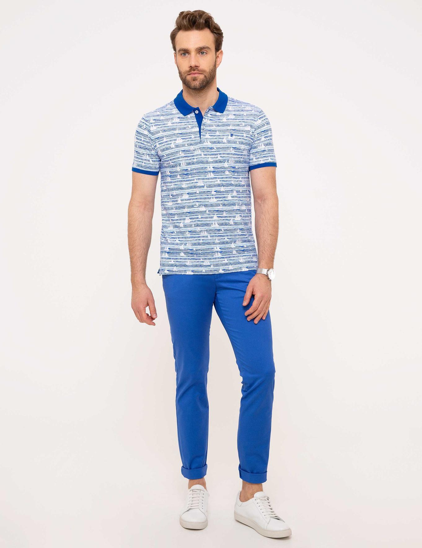Saks Mavi Slim Fit Polo Yaka T-Shirt