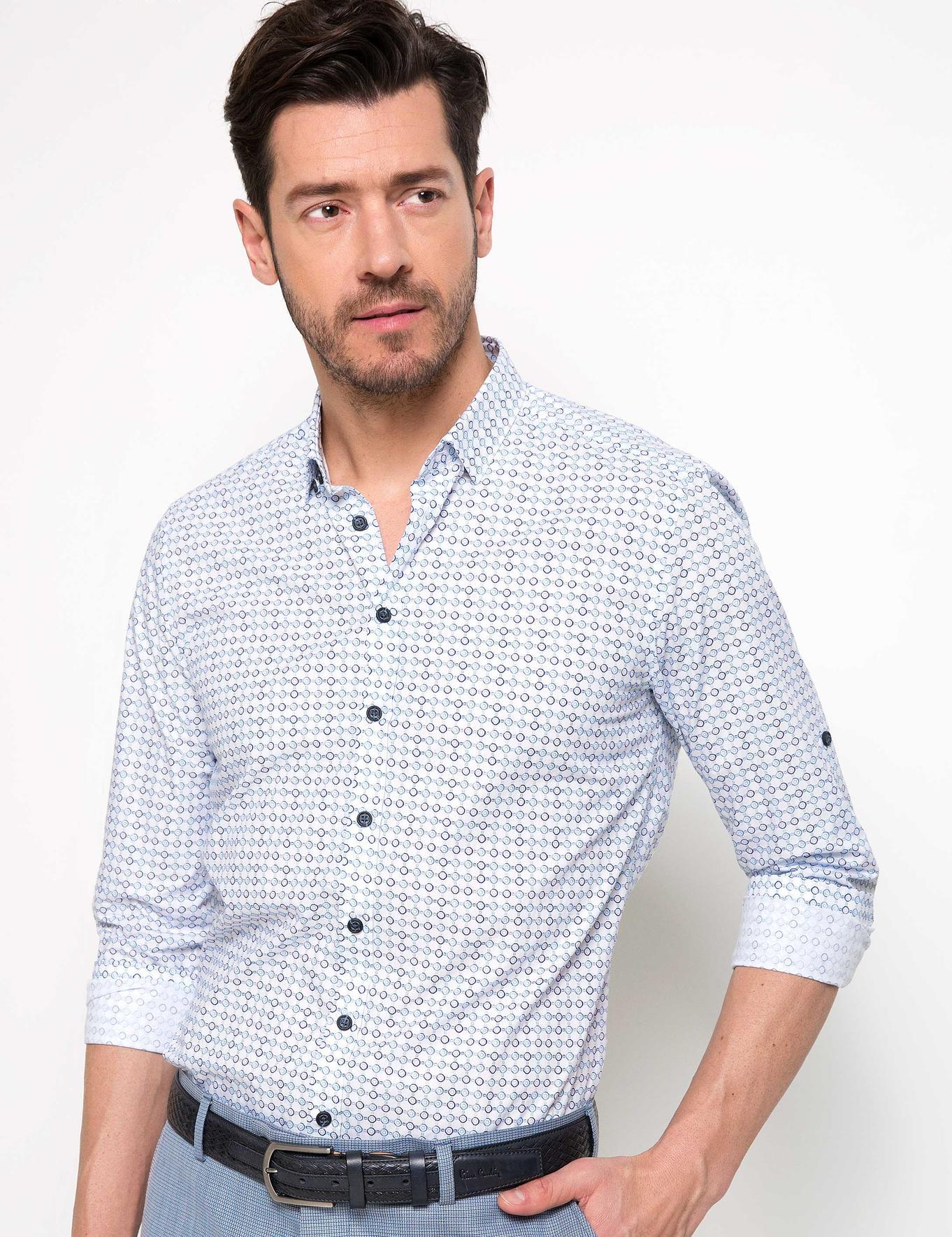 Mavi Detaylı Beyaz Slim Fit Gömlek