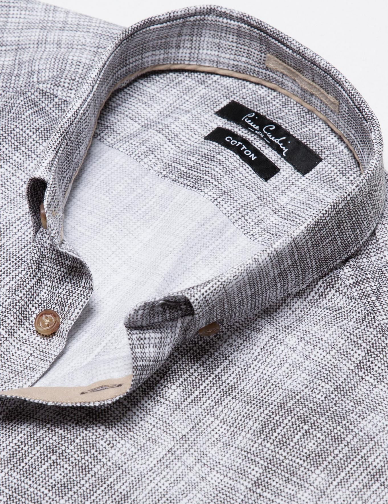 Antrasit Detaylı Beyaz Slim Fit Gömlek