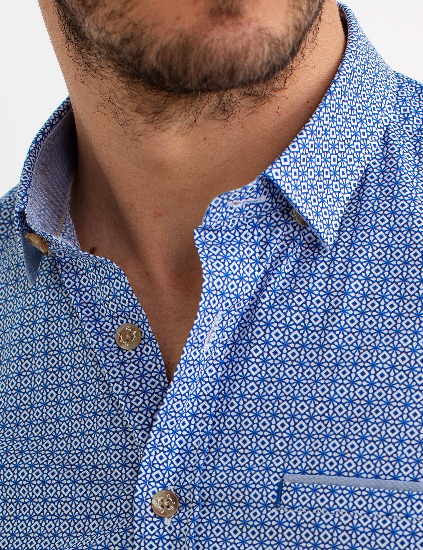 Saks Mavi Slim Fit Kısakol Gömlek