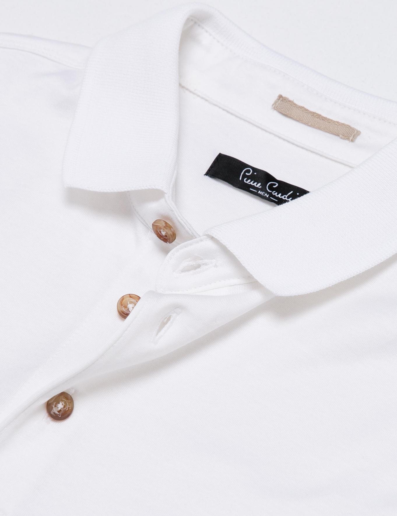 Beyaz Regular Fit Polo Yaka Basic T-Shirt