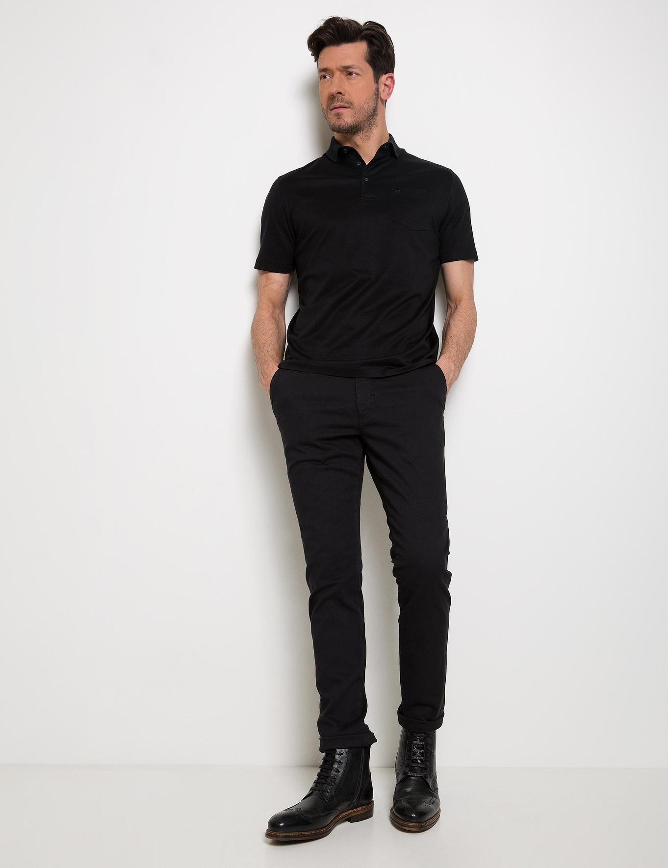 Siyah Regular Fit Polo Yaka Basic T-Shirt