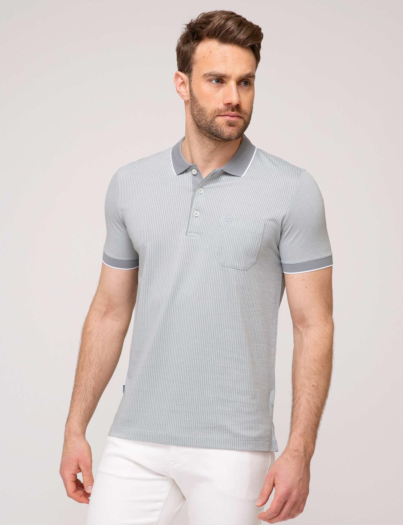 Gri Regular Fit Polo Yaka T-Shirt