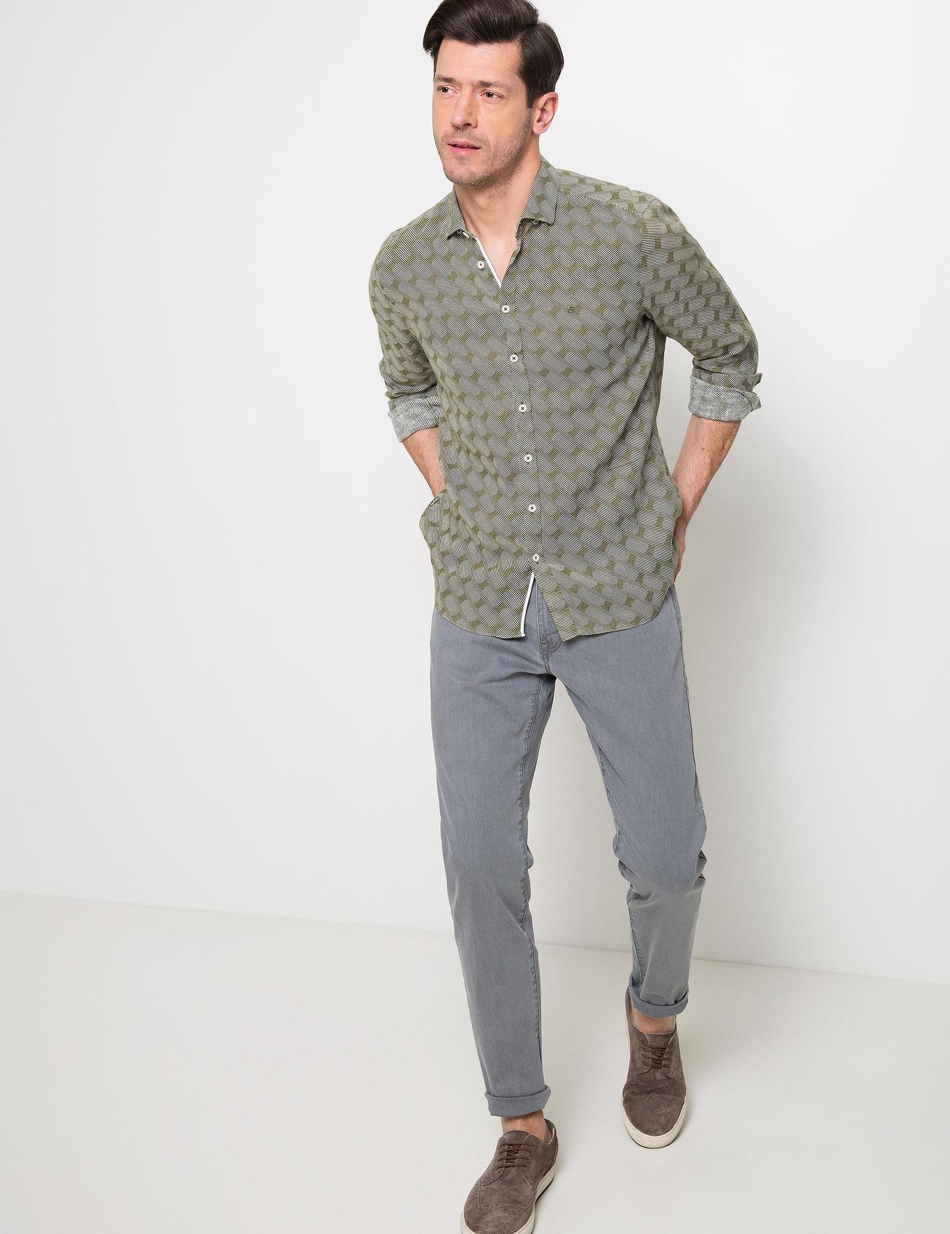 Slim Haki Gömlek