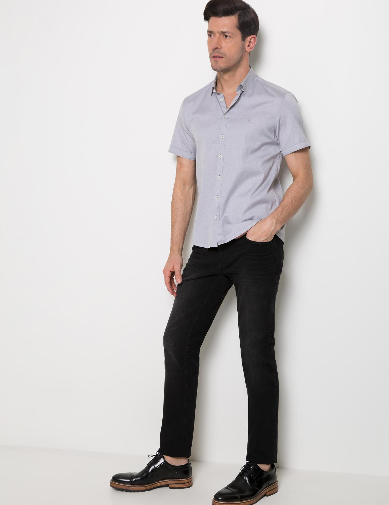 Gri Slim Fit Kısa Kollu Gömlek