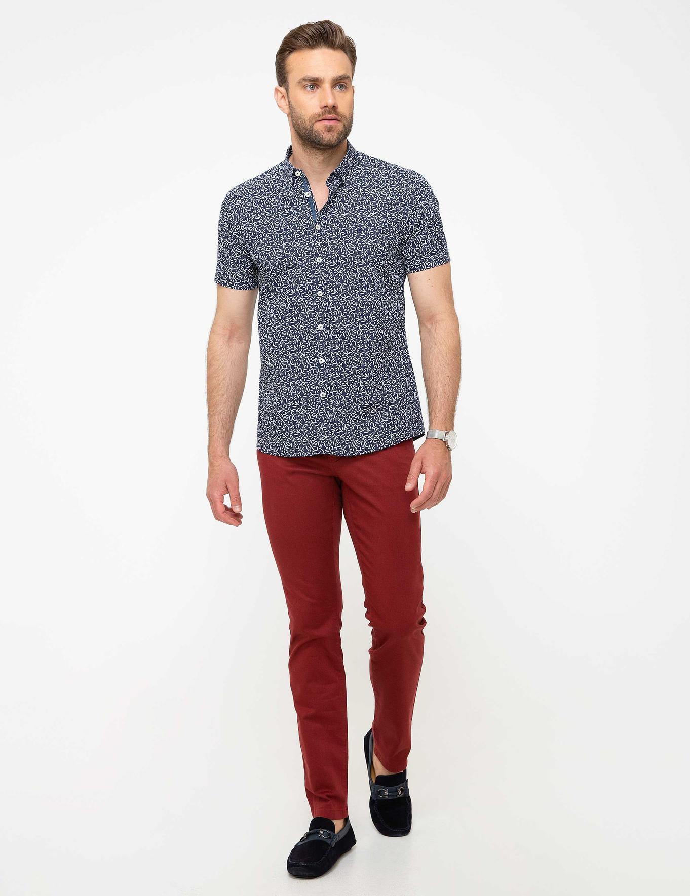 Lacivert Slim Fit Kısakol Gömlek