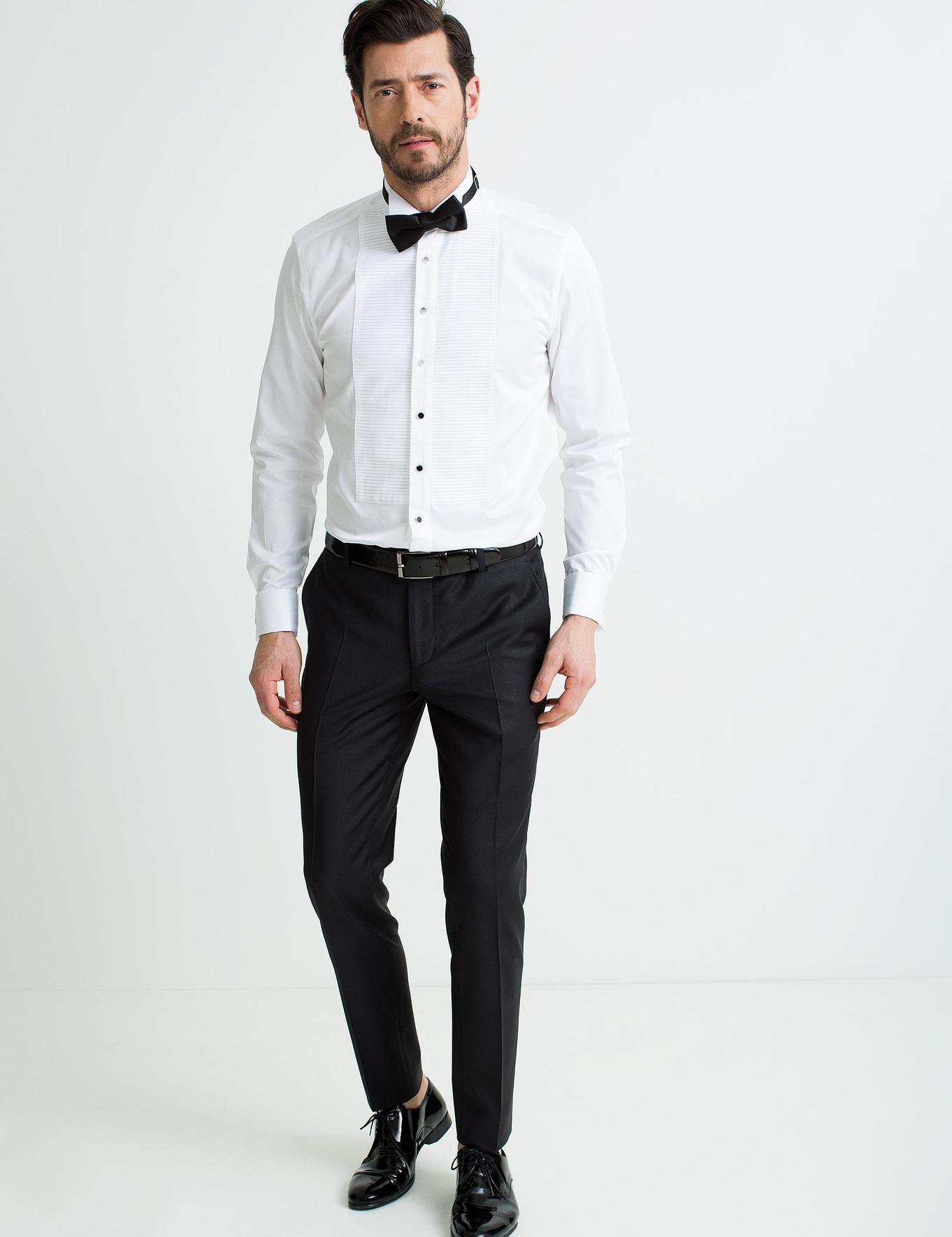 Beyaz Slim Fit Smokin Gömlek