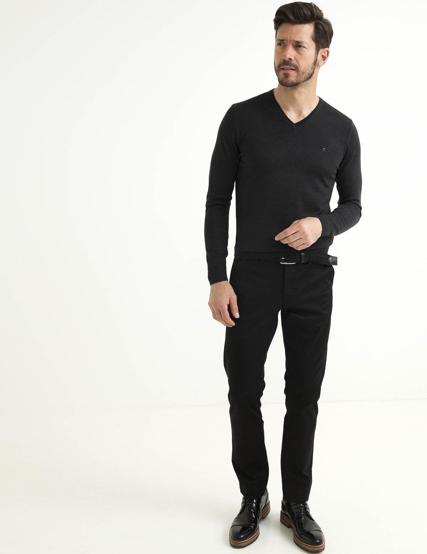 Antrasit Gri Melanj Slim Fit Basic Triko Kazak