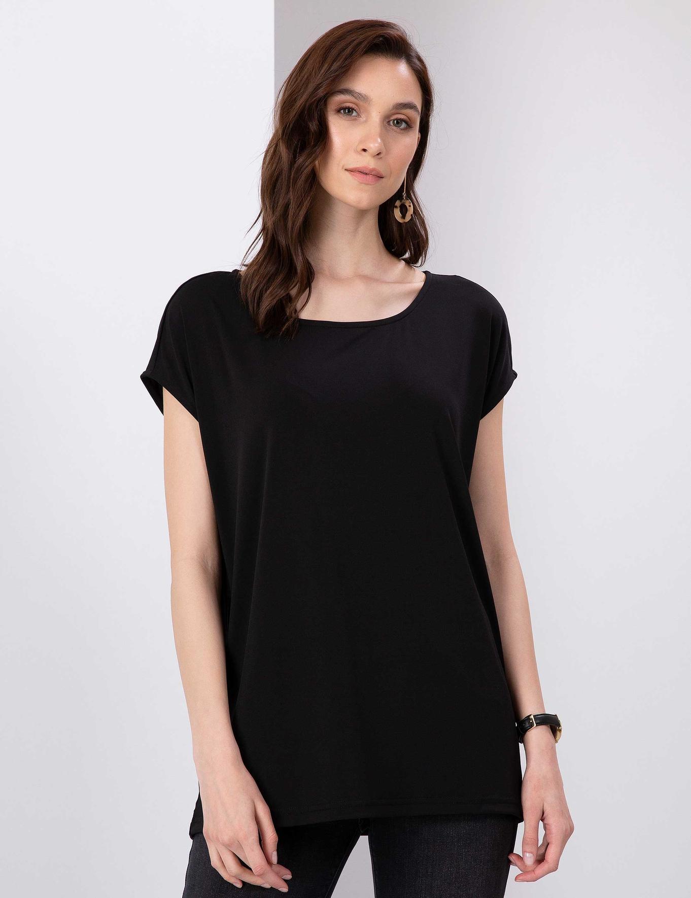 Siyah Comfort Fit Kayık Yaka T-Shirt