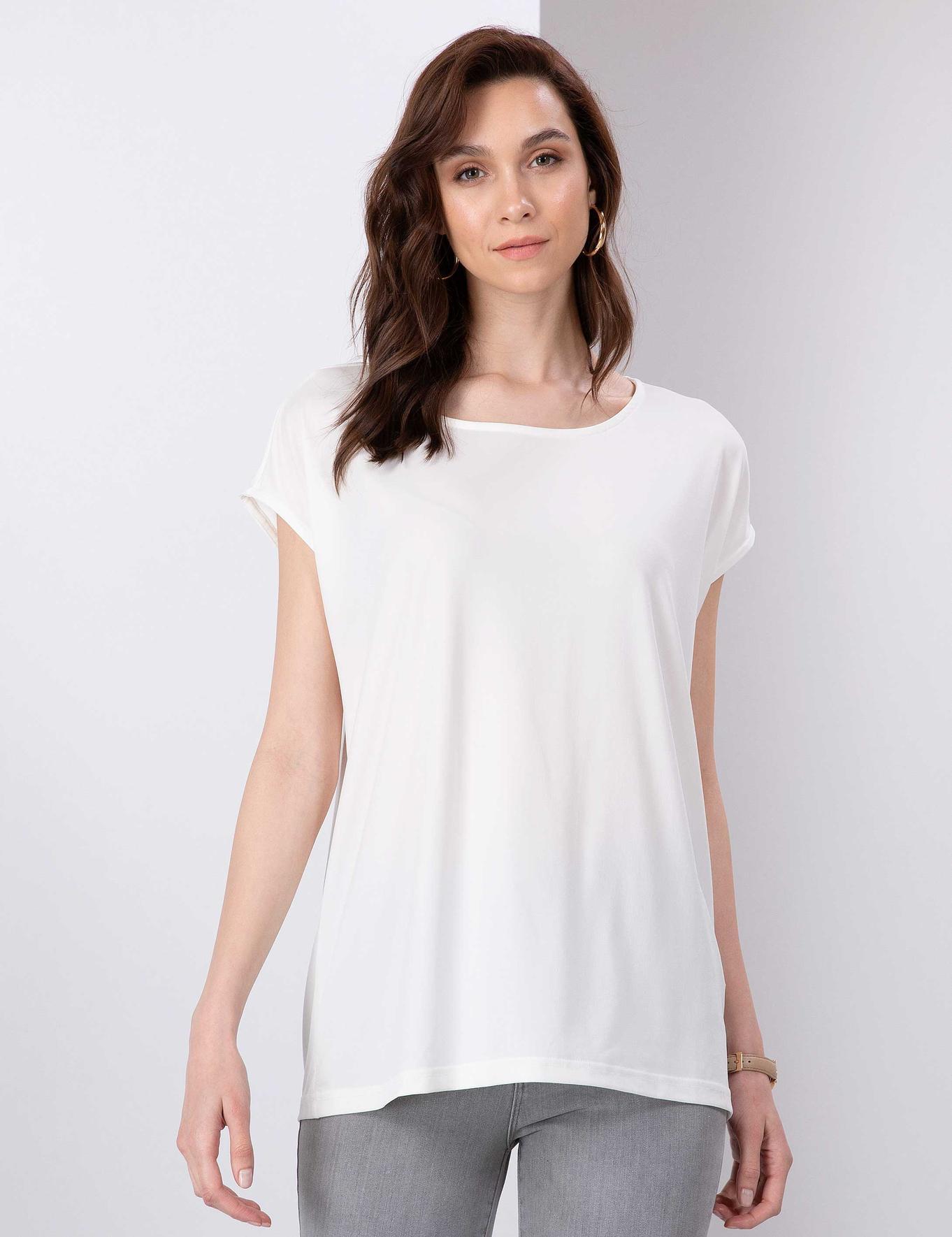 Ekru Comfort Fit Kayık Yaka T-Shirt