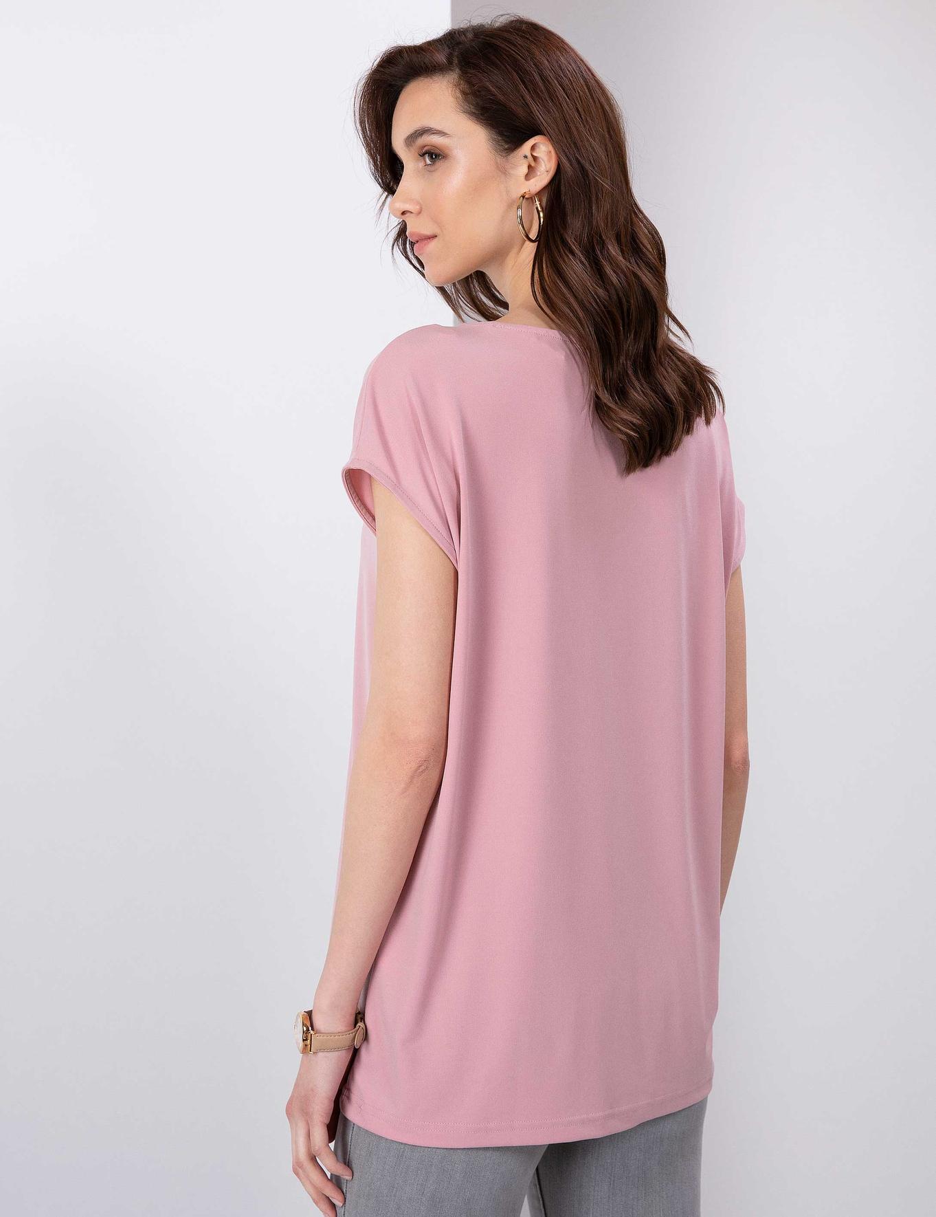 Pudra Pembe Comfort Fit Kayık Yaka T-Shirt