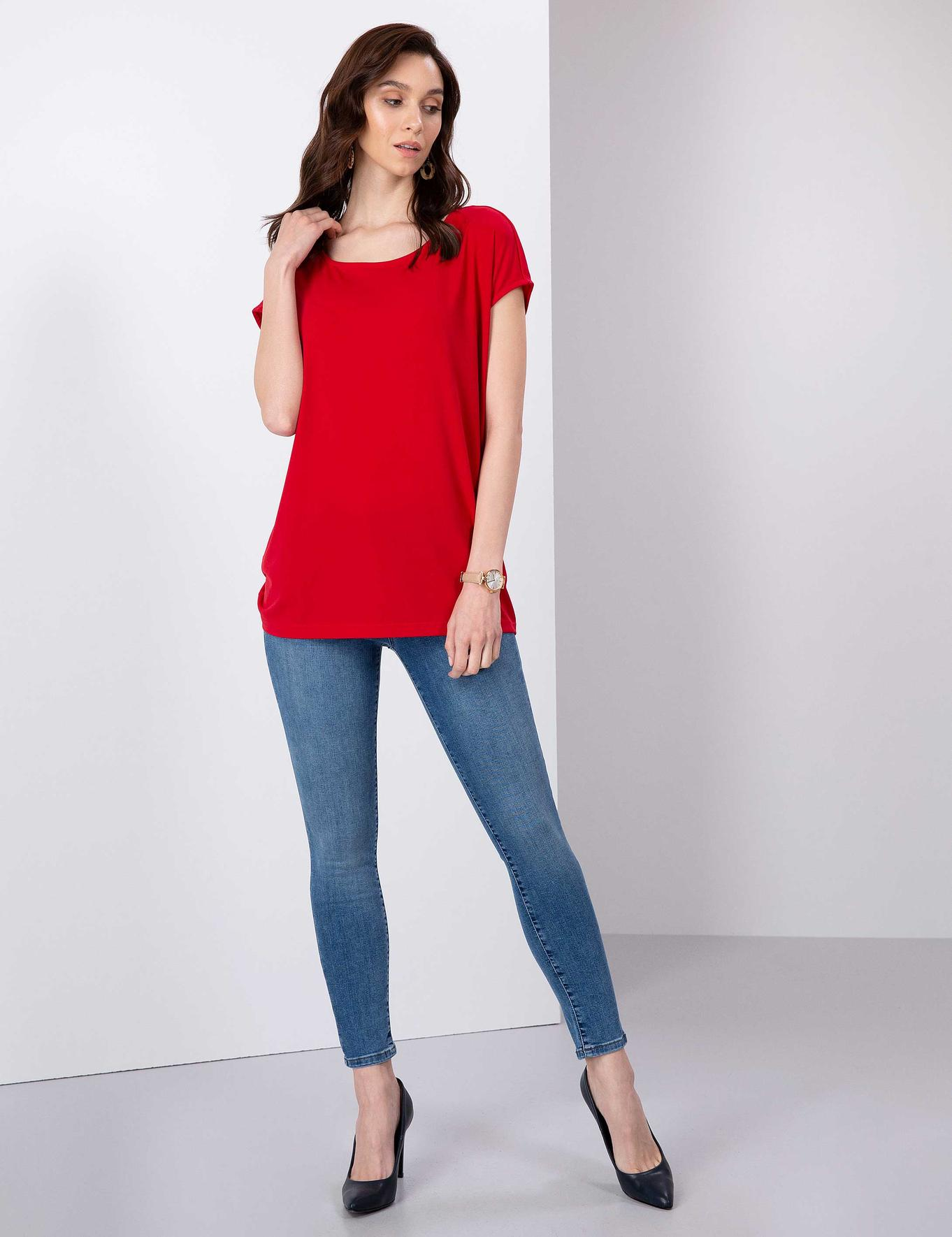 Kırmızı Comfort Fit Kayık Yaka T-Shirt