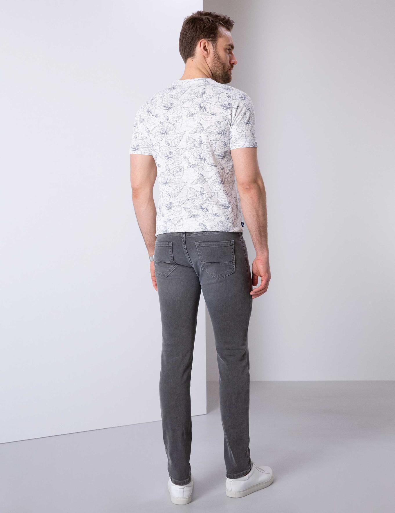 Koyu Gri Slim Fit Denim Pantolon