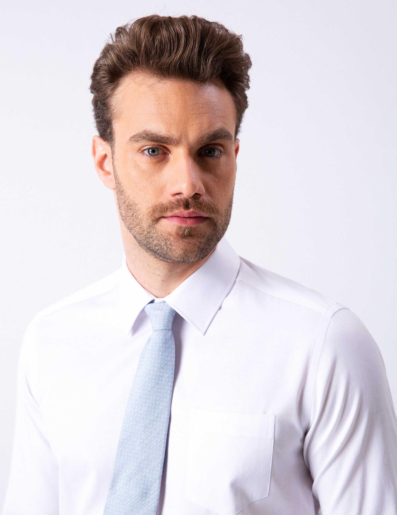 Beyaz Regular Fit Basic Gömlek