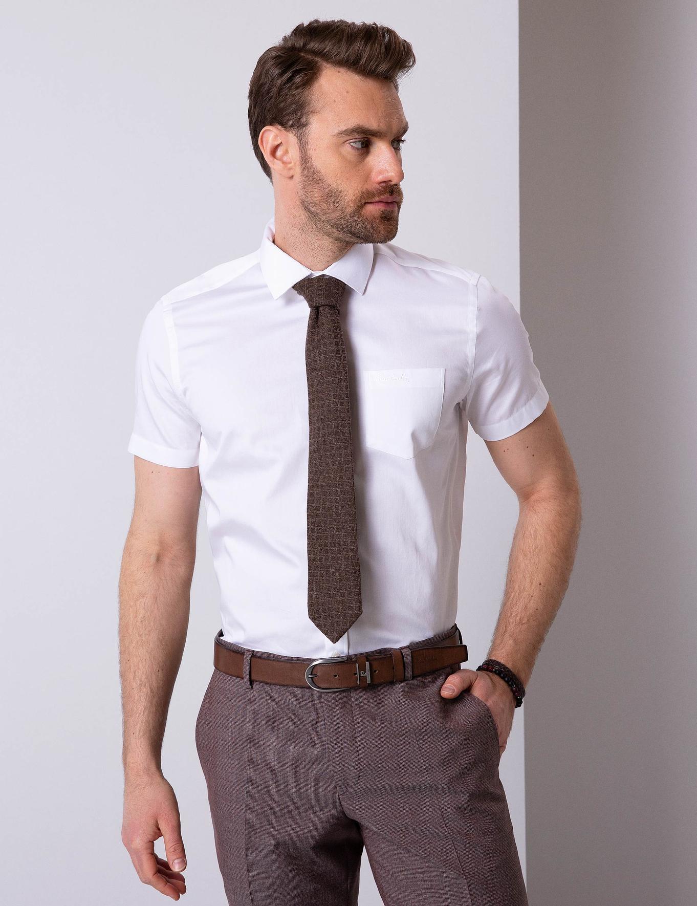 Beyaz Regular Fit Kısakol Gömlek