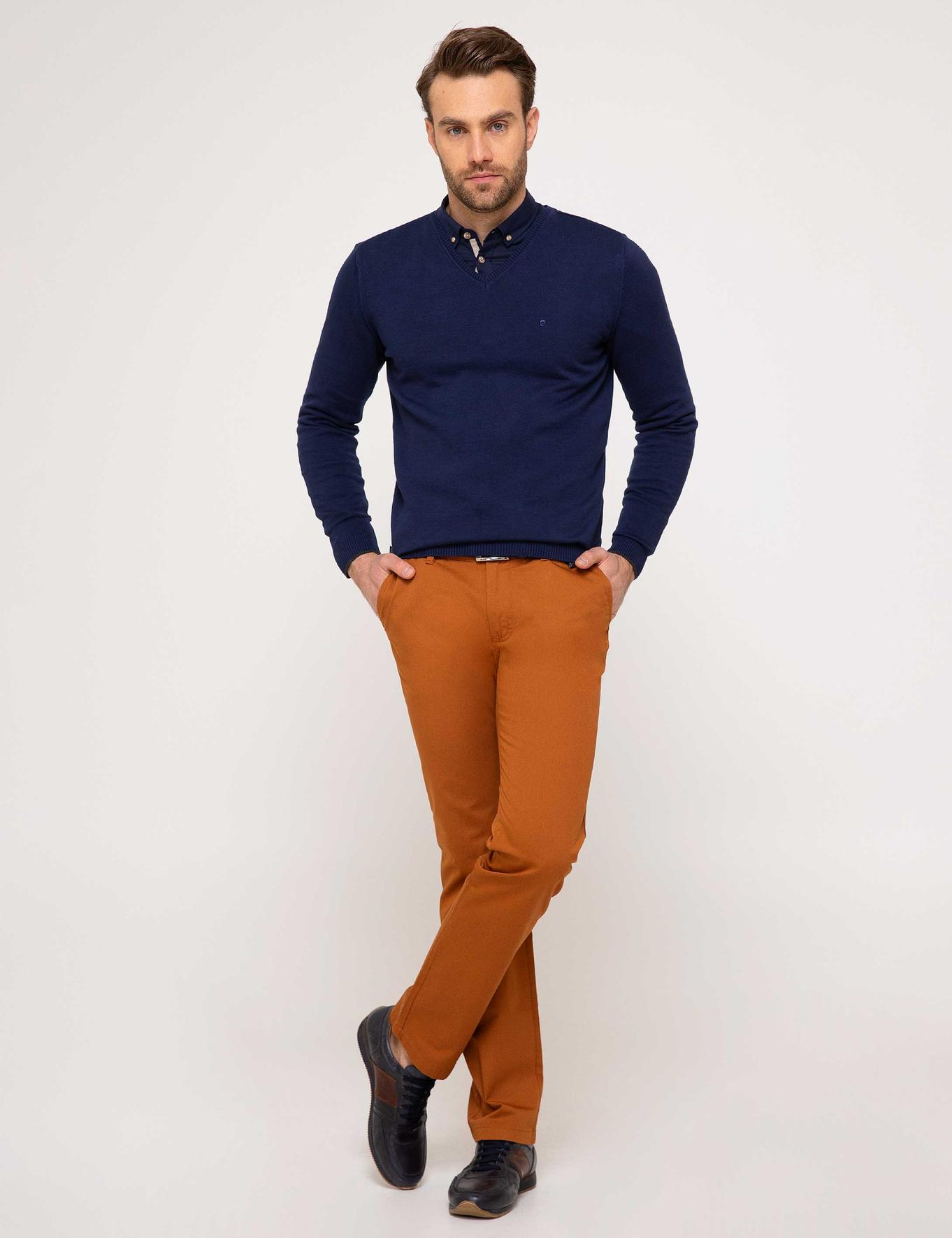 Lacivert Slim Fit Basic Triko Kazak