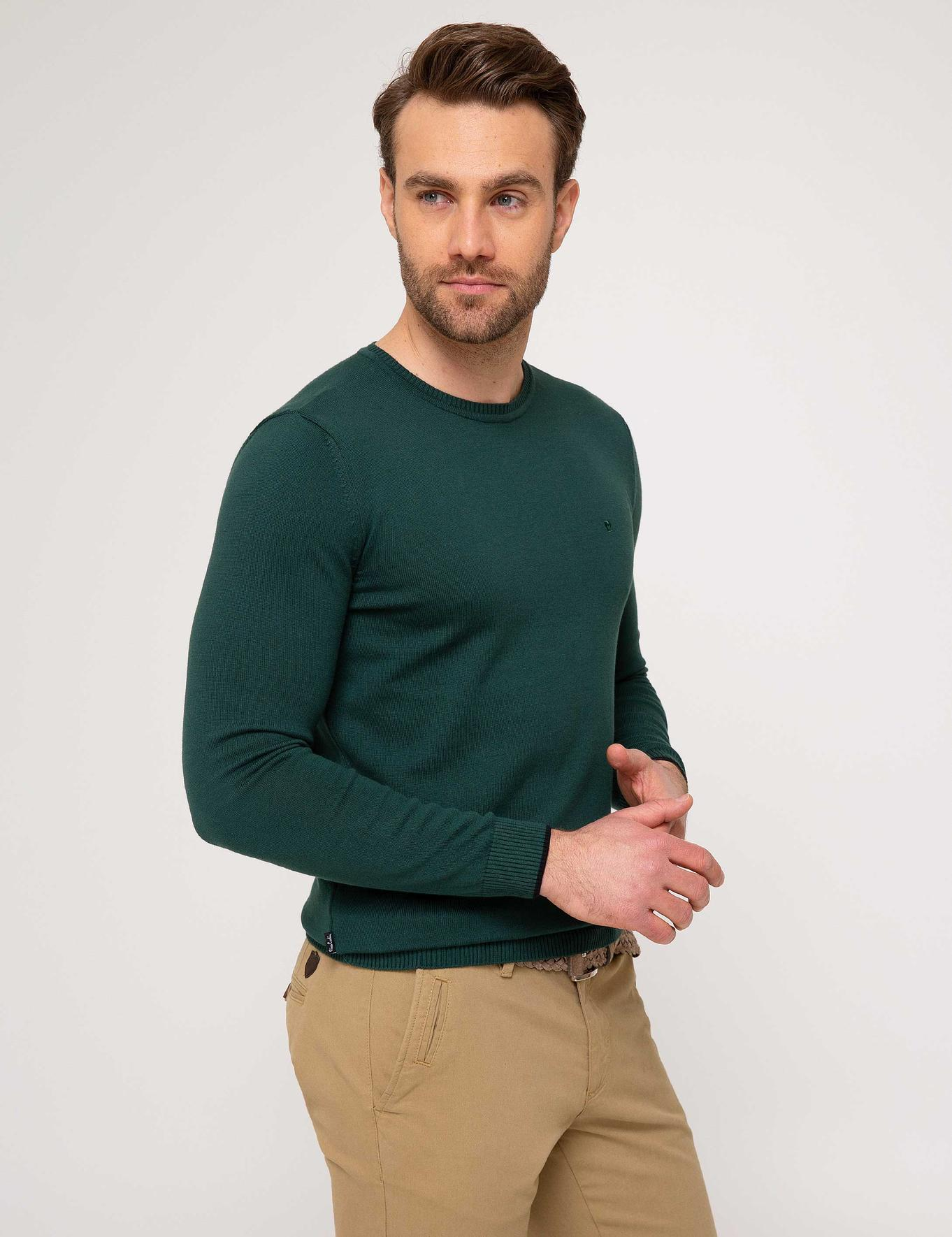 Yeşil Slim Fit Basic Triko Kazak