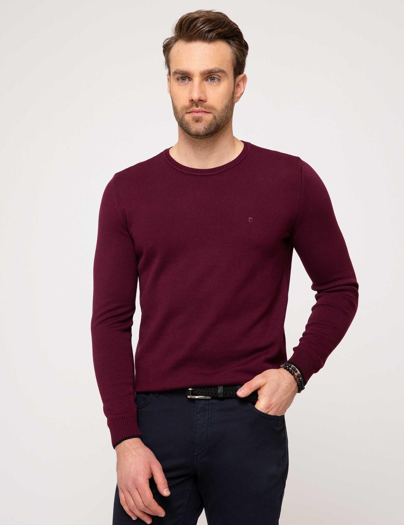 Bordo Slim Fit Bisiklet Yaka Basic Triko Kazak