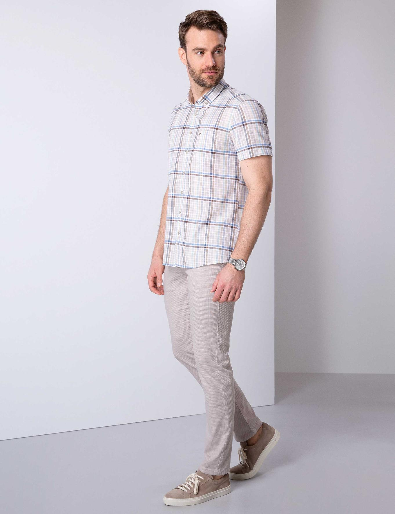 Bej Slim Fit Chino Pantolon