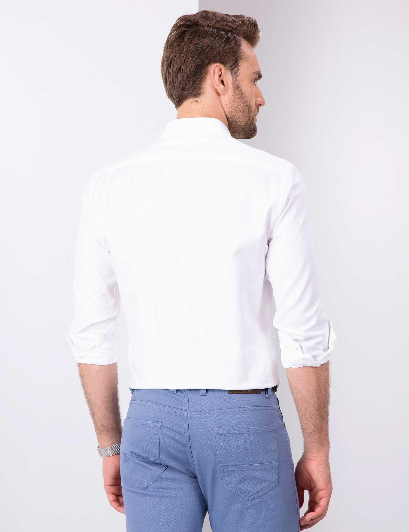 Beyaz Slim Fit Oxford Gömlek
