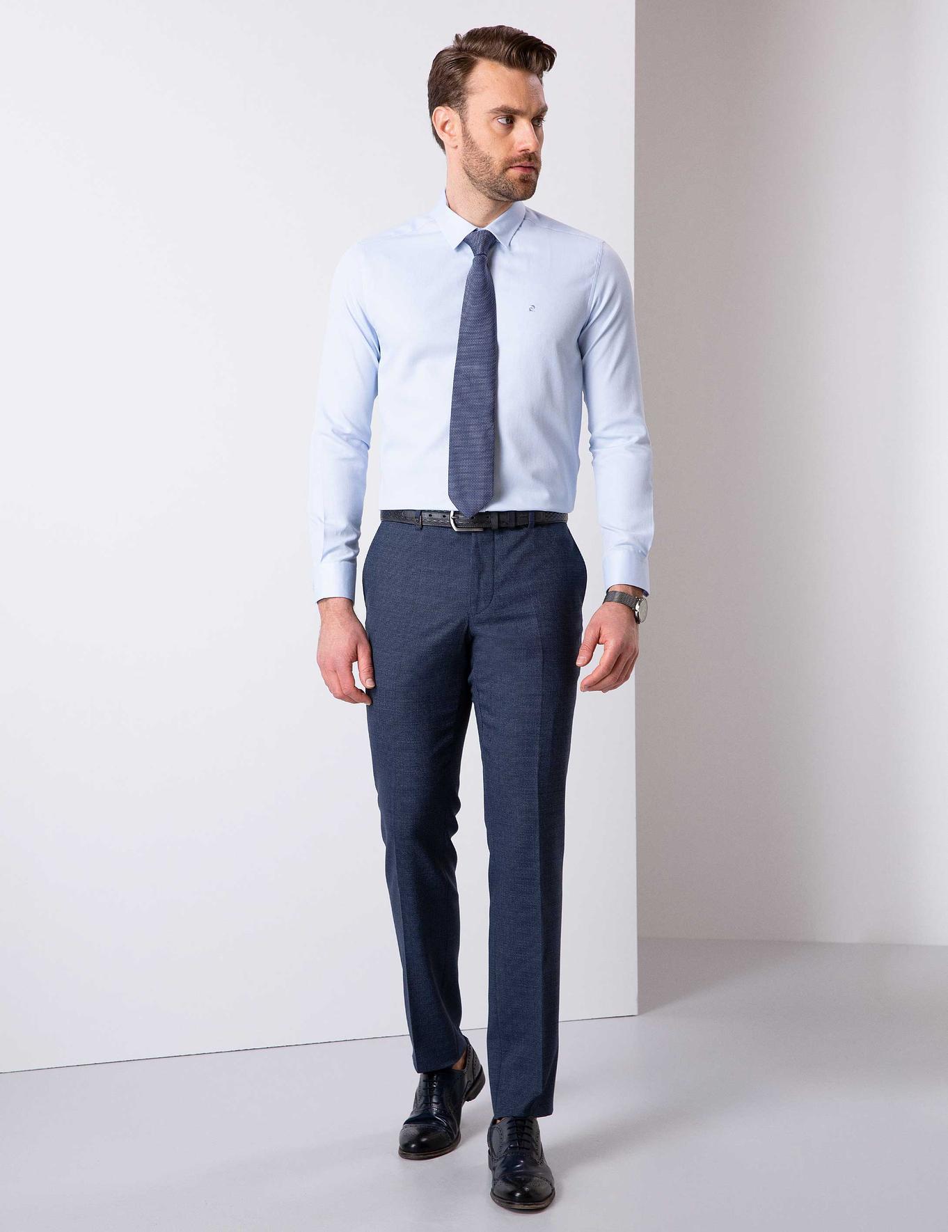 Açık Mavi Slim Fit Oxford Gömlek