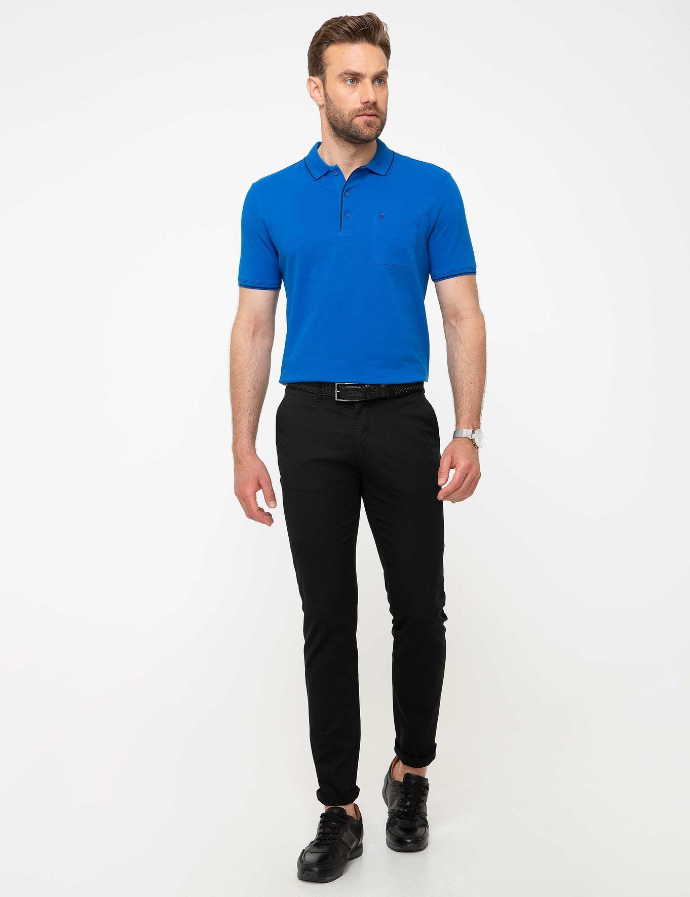 Saks Mavi Regular Fit Polo Yaka Basic T-Shirt
