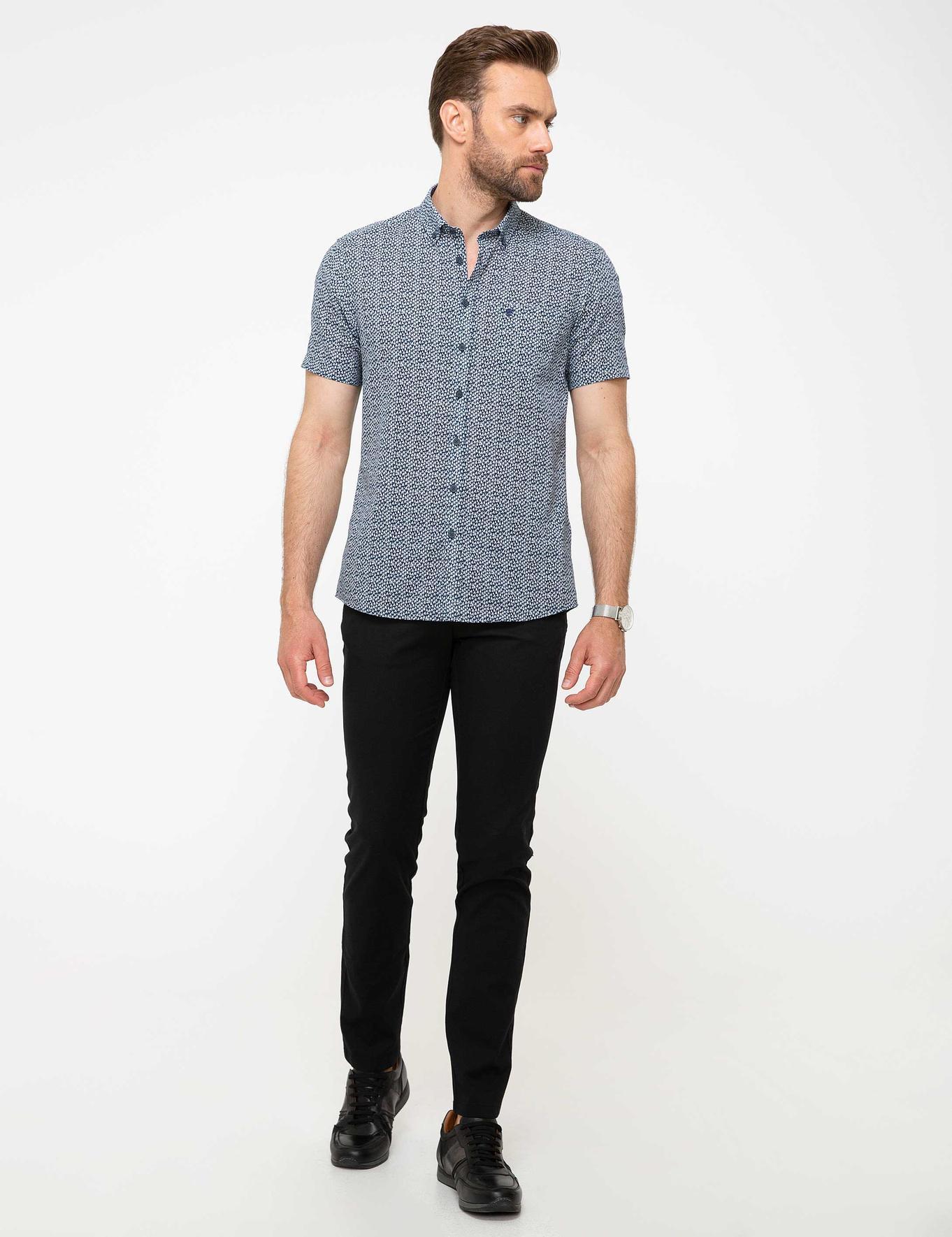 Lacivert Slim Fit Kısa Kollu Gömlek