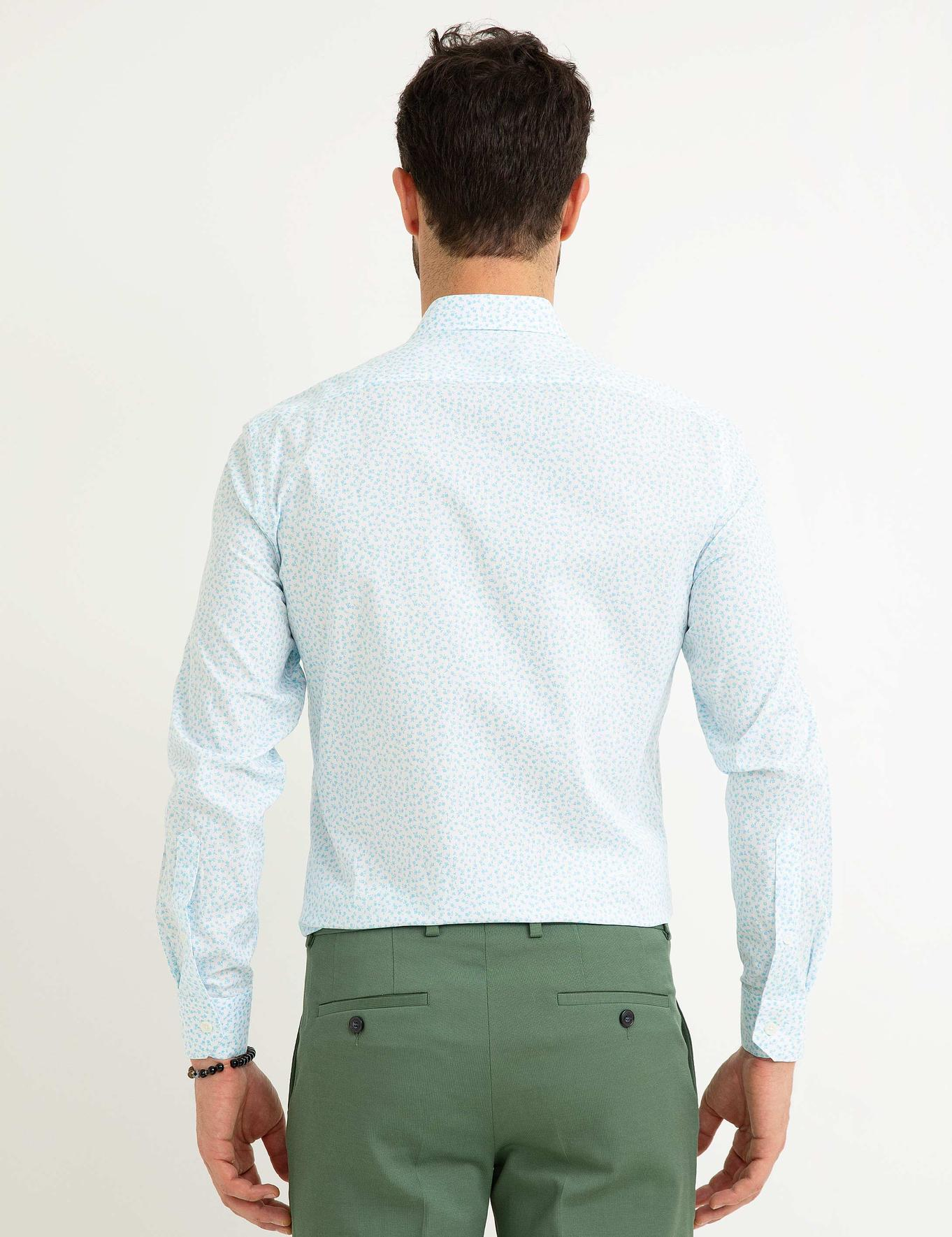 Turkuaz Mavi Slim Fit Gömlek
