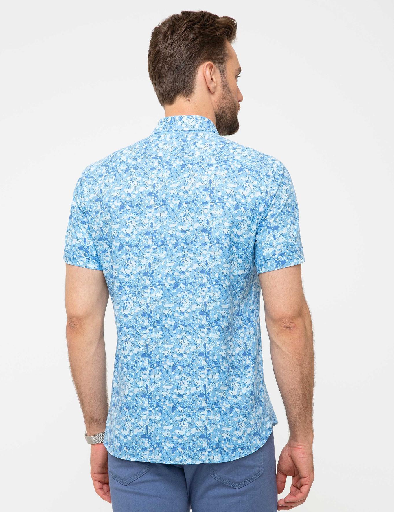 Saks Mavi Slim Fit Kısa Kollu Gömlek