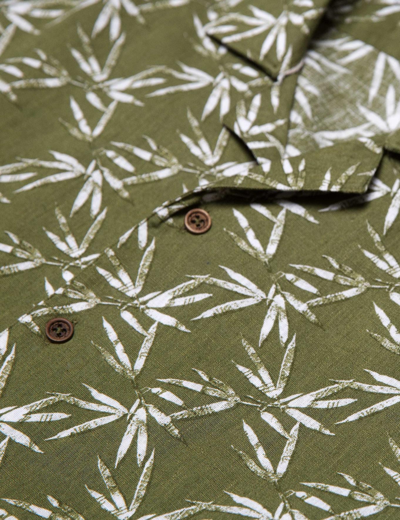 Yeşil Slim Fit Kısakol Gömlek