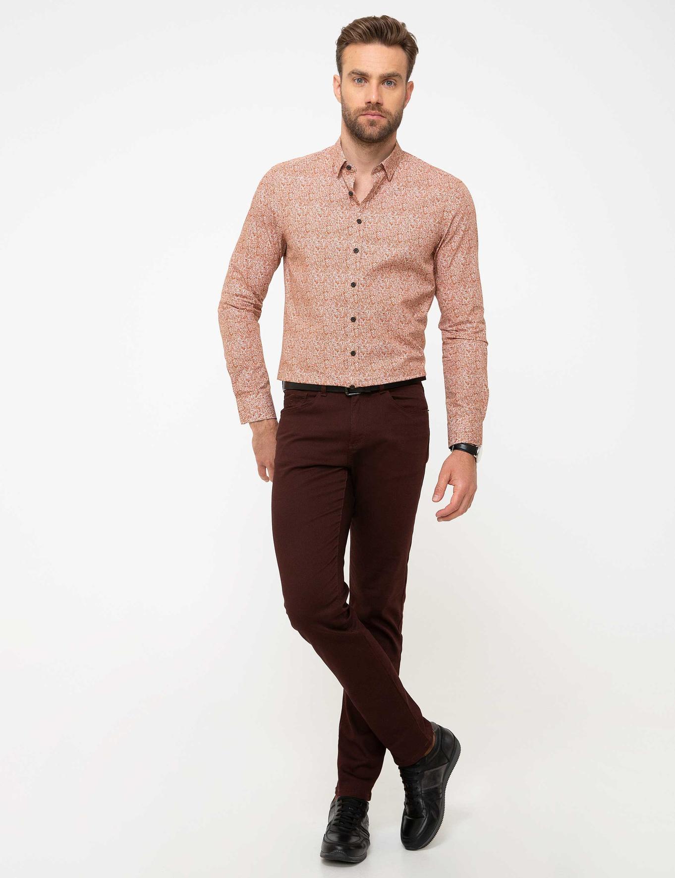 Slim Kahverengi Gömlek