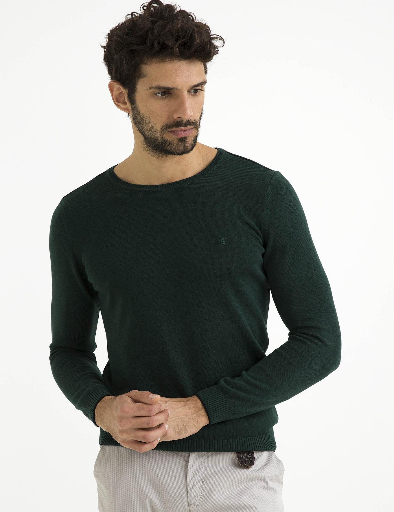 Koyu Yeşil Slim Fit Basic Triko Kazak