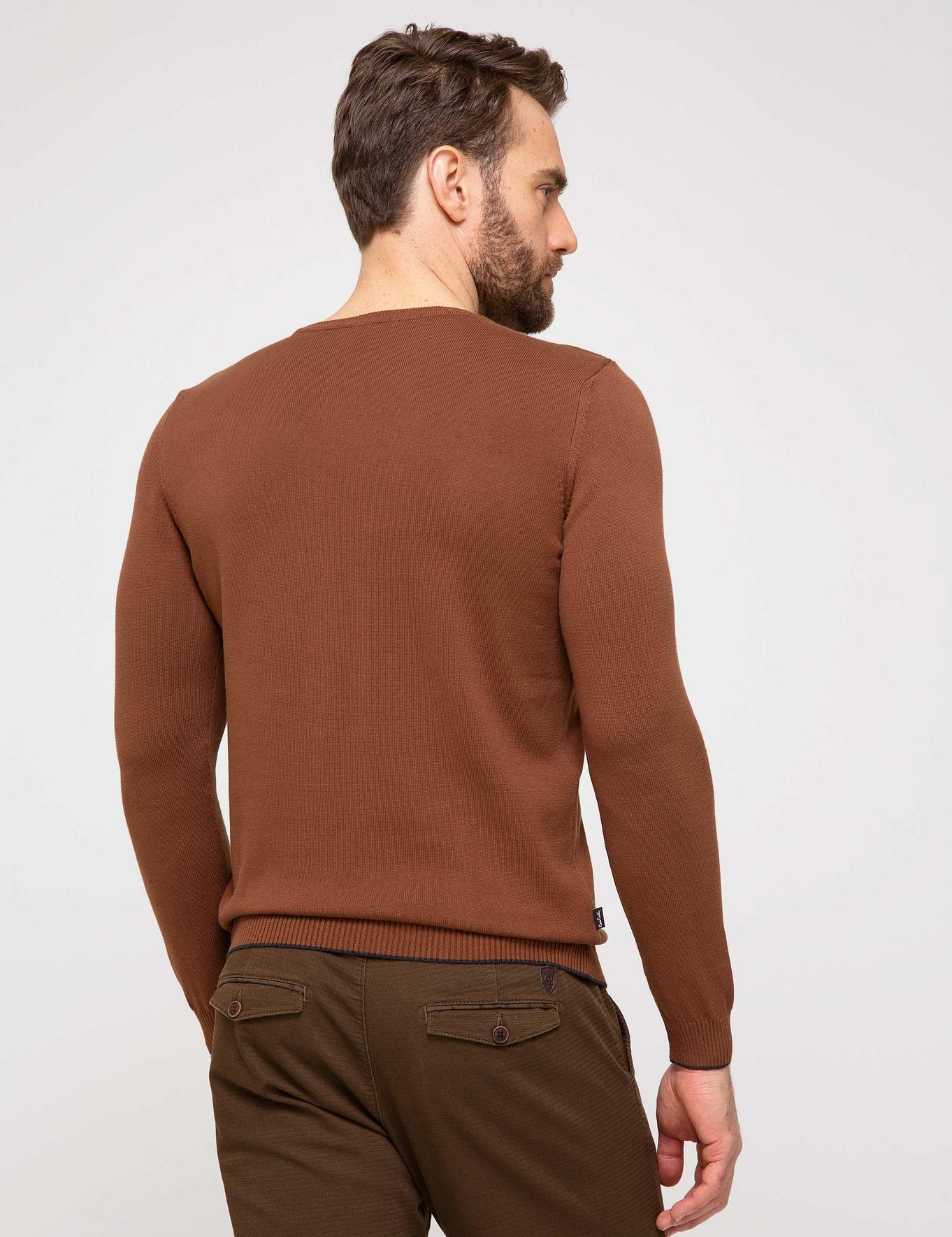 Turuncu Slim Fit Basic Triko Kazak