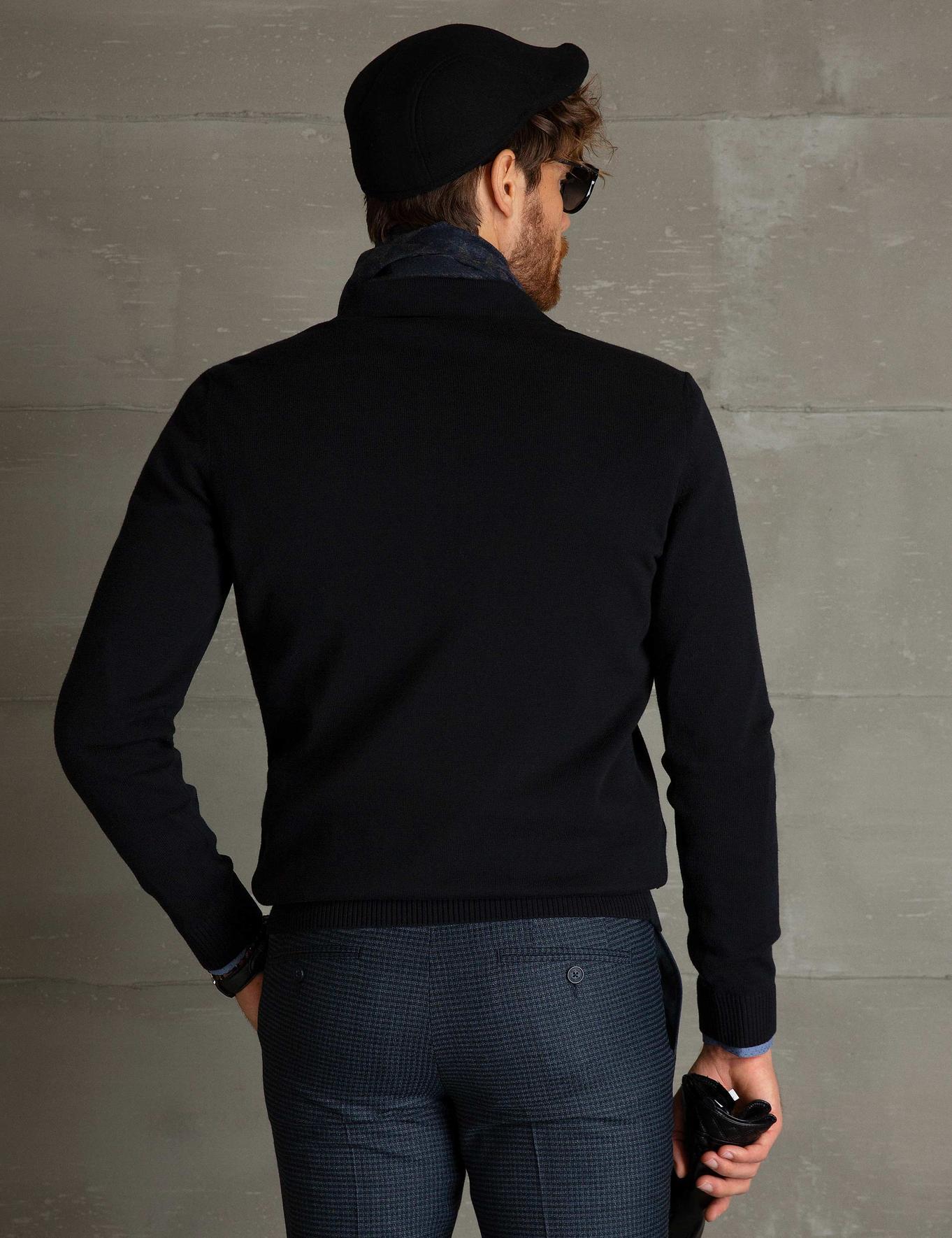 Siyah Slim Fit Polo Yaka Basic Triko Kazak