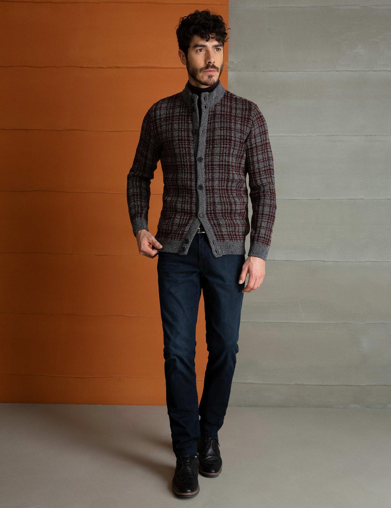 Bordo Slim Fit Triko Hırka