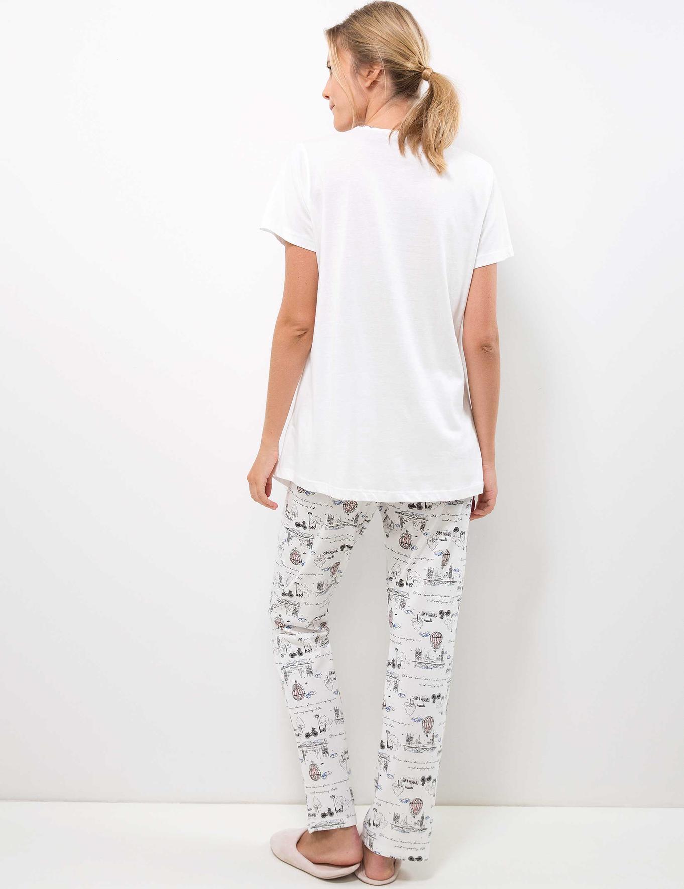 Beyaz Lohusa Pijama Takımı