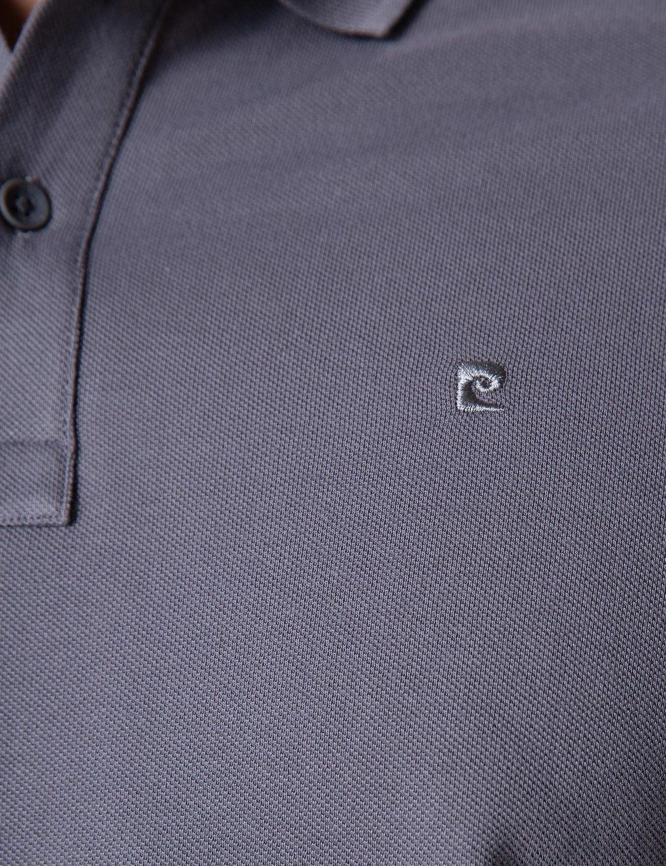 Koyu Gri Slim Fit Basic Polo Yaka T-Shirt