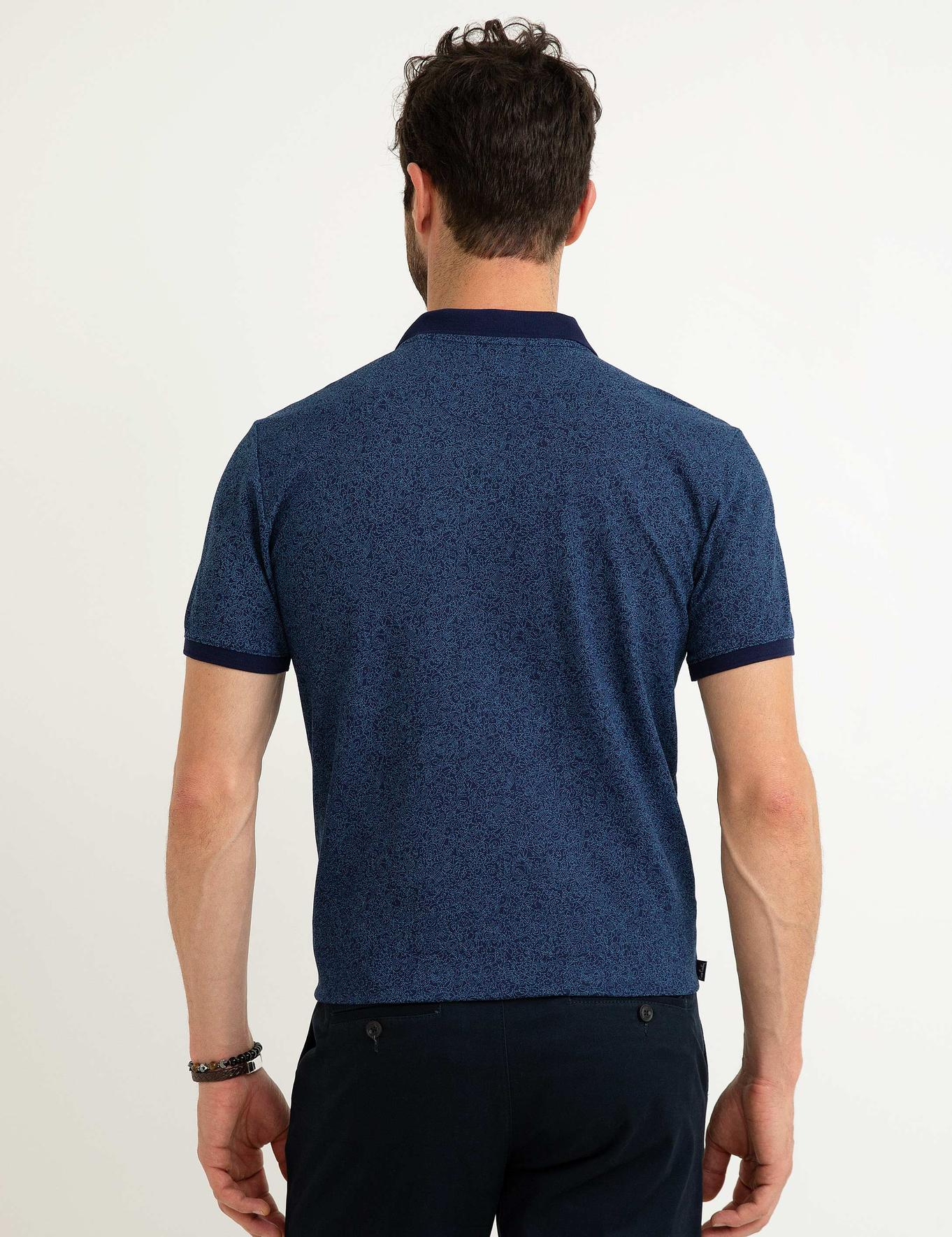 Lacivert Slim Fit Polo Yaka T-Shirt