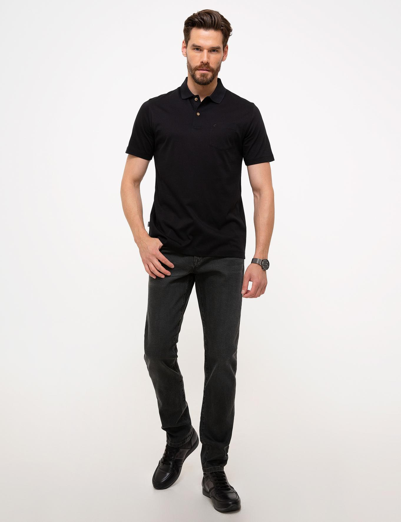 Siyah Regular Fit Merserize Polo Yaka T-Shirt