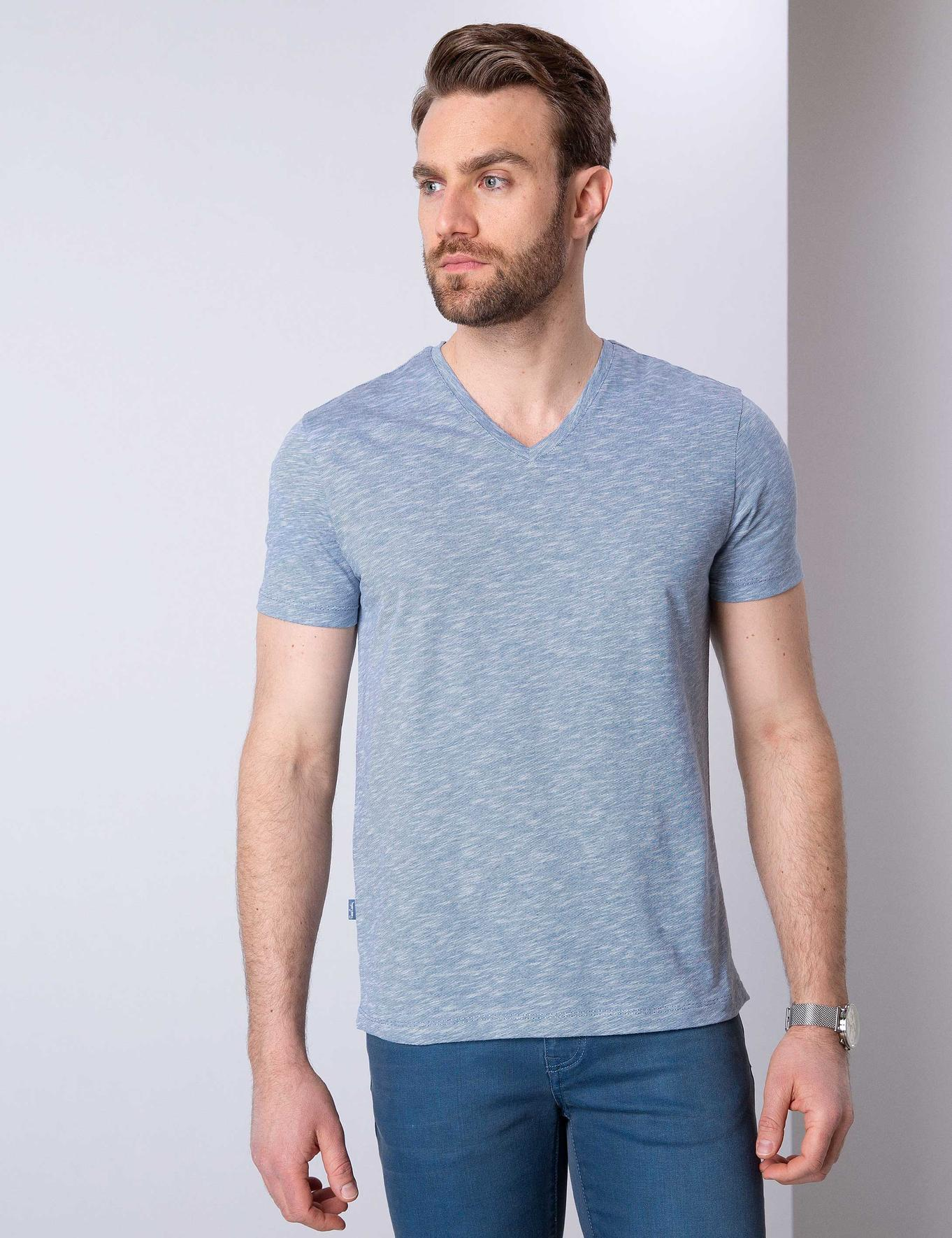 Mavi Slim Fit V Yaka T-Shirt