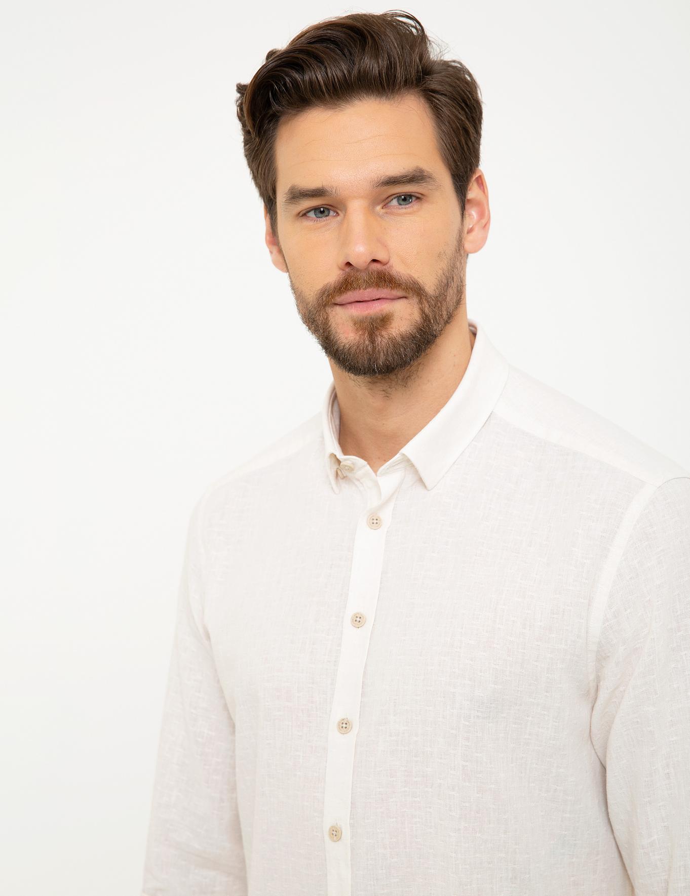 Beyaz Regular Fit Keten Karışımlı Gömlek
