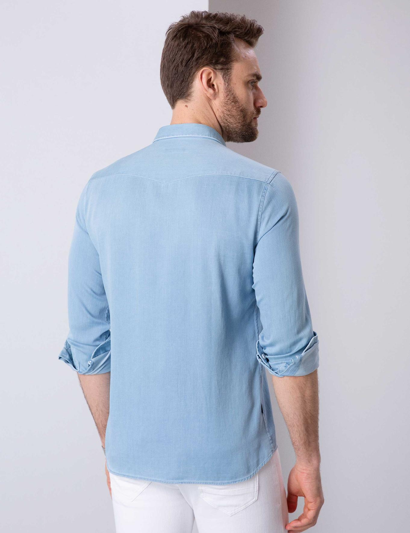 Mavi Slim Fit Denim Gömlek