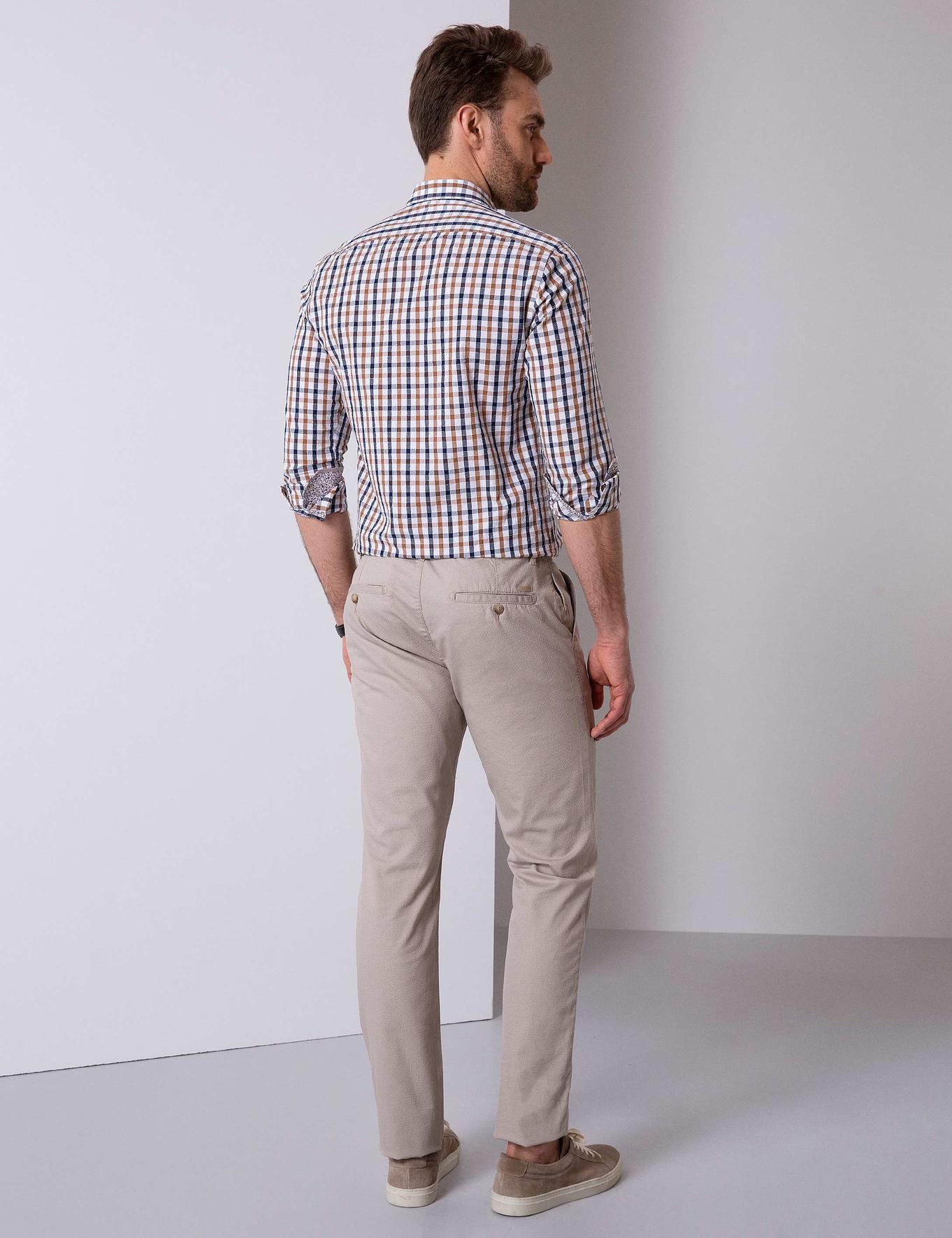 Bej Slim Fit Chino Pantolon