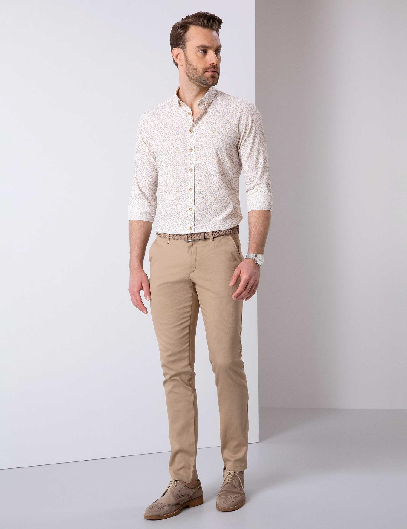 Camel Slim Fit Chino Pantolon